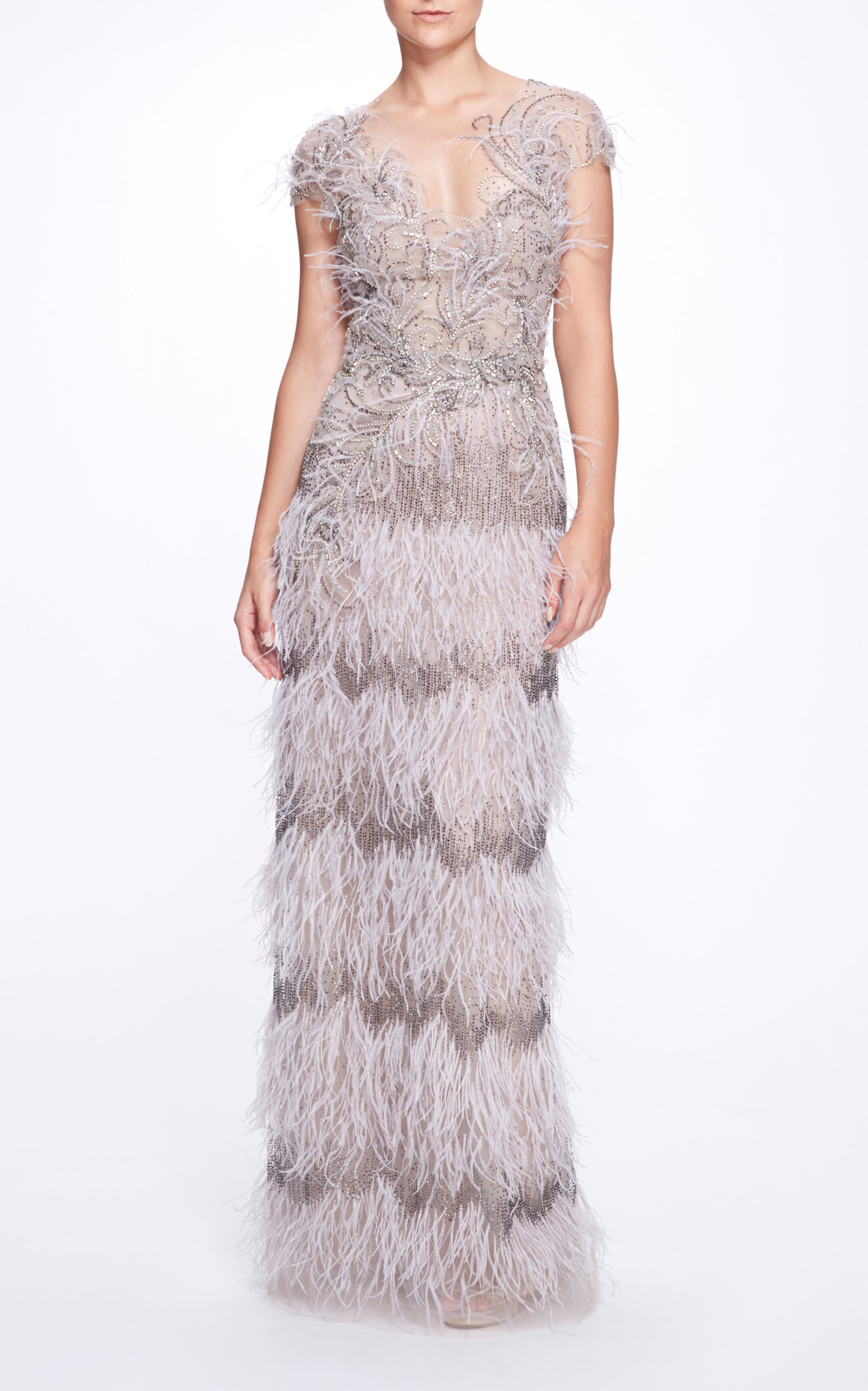 Marchesa FEATHERED TULLE GOWN