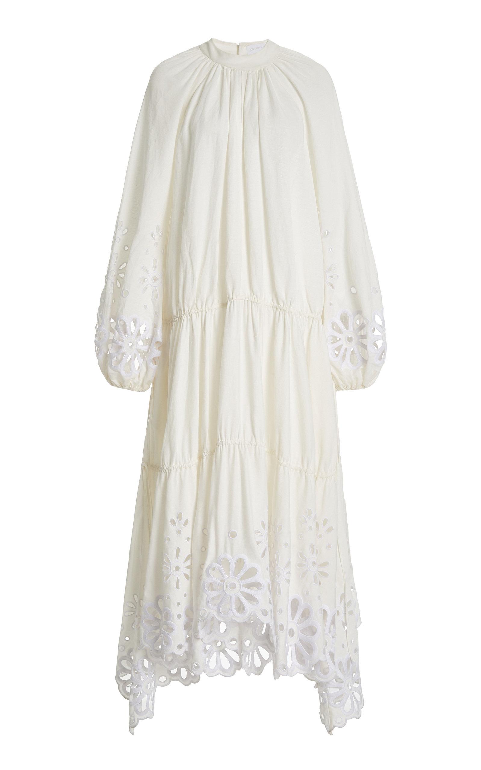 Jonathan Simkhai WOMEN'S ANISA BRODERIE ANGLAISE LINEN-BLEND MAXI DRESS