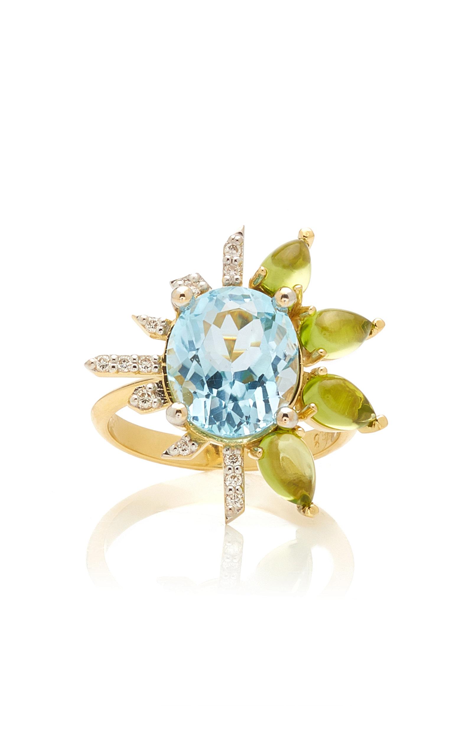 Women's Royal 18K Yellow Gold Topaz; Diamond; Peridot Ring
