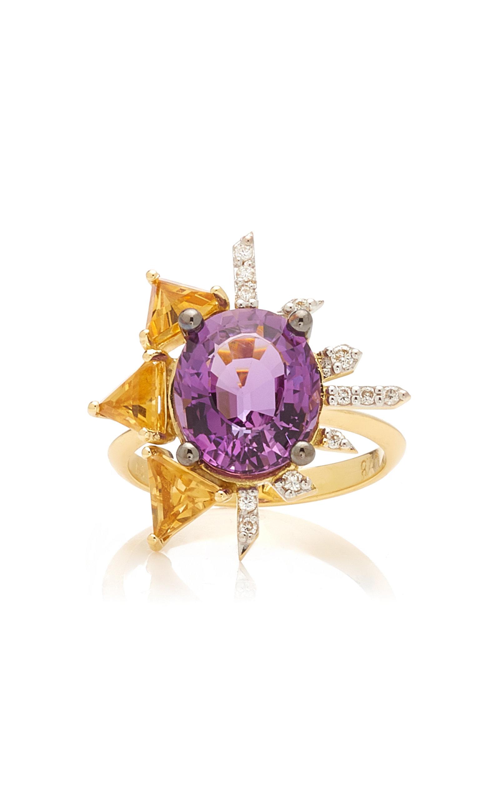 Women's Royal 18K Yellow Gold Amethyst; Diamond; Citrine Ring