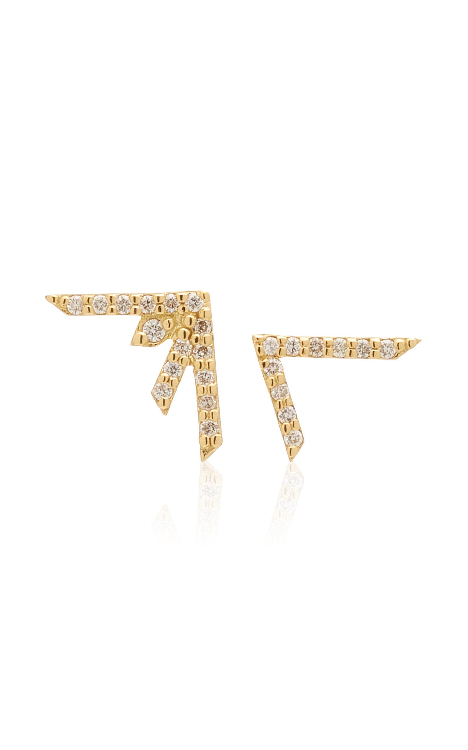Women's Supernova Asymmetric 18K Yellow Gold Diamond Earrings