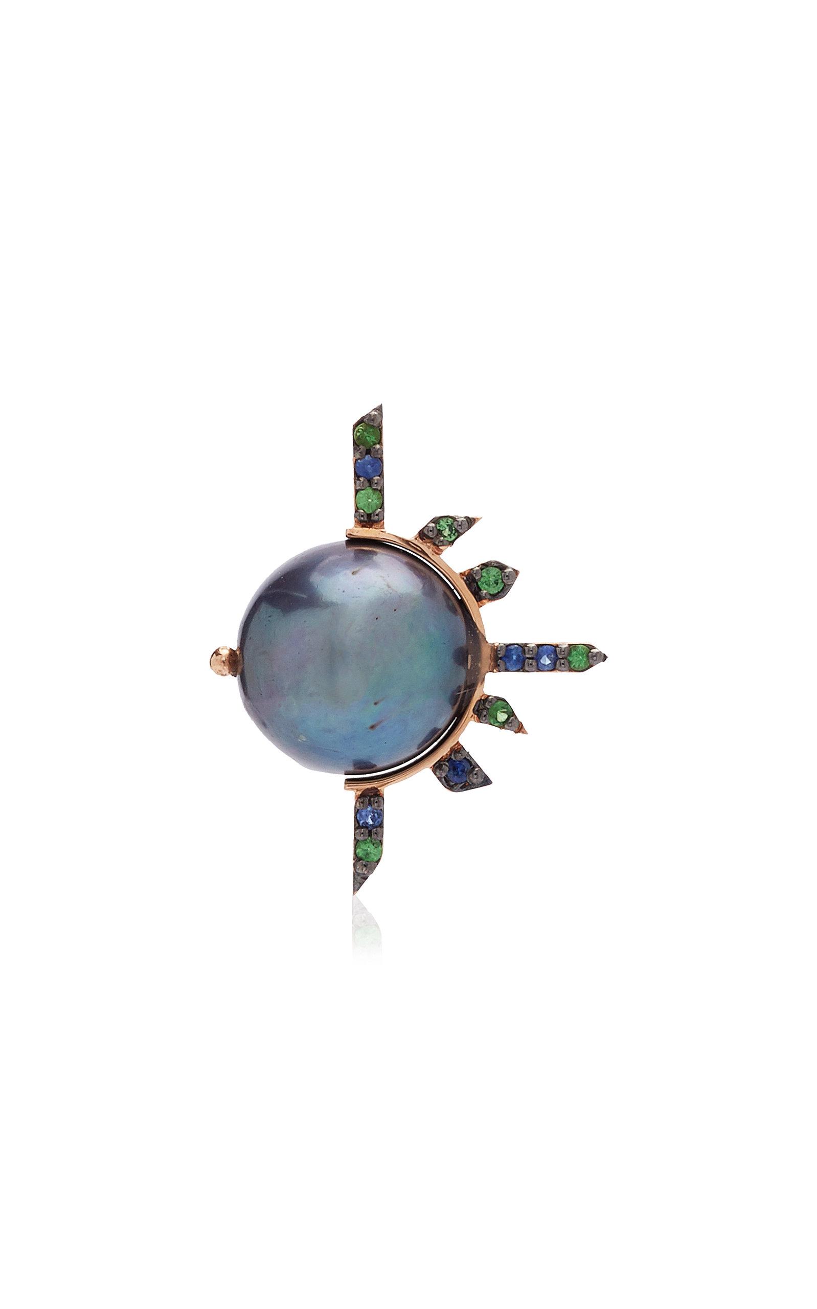 Women's Supernova 18K Rose Gold Sapphire; Pearl; Tsavorite Necklace