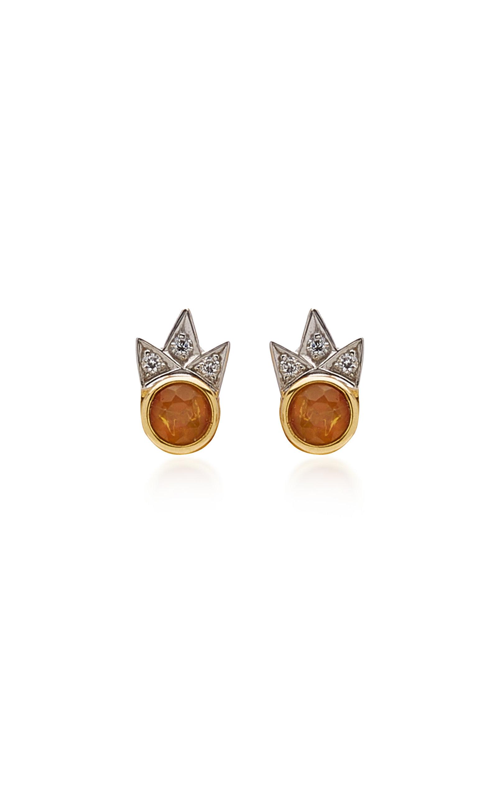 Women's Starburst 18K Gold Opal; Diamond Earrings