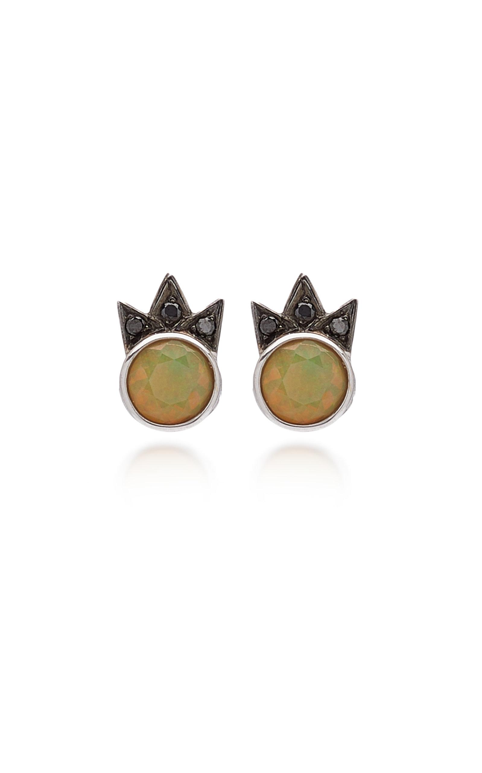 M.Spalten - Women's Starburst 18K White Gold Opal; Black Diamond Earrings - Gold - Moda Operandi