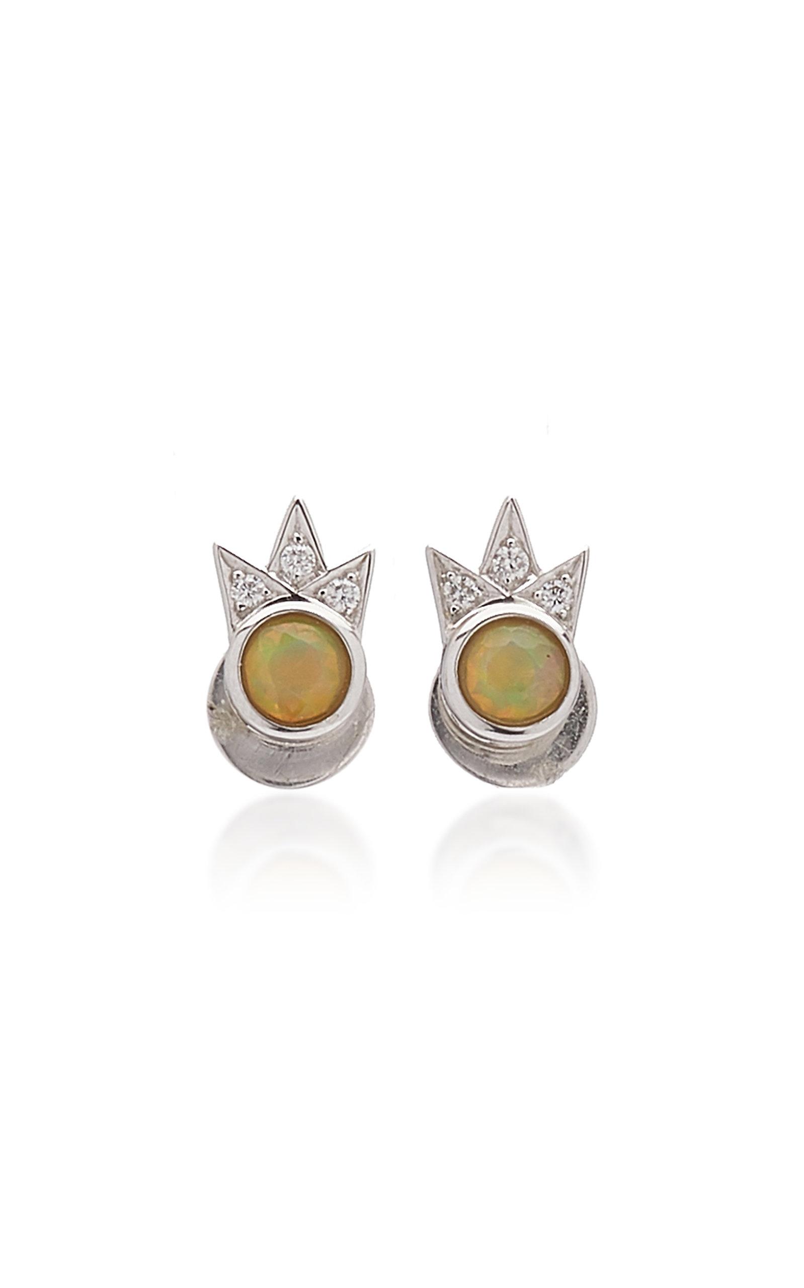 Women's Starburst 18K White Gold Opal; Diamond Earrings