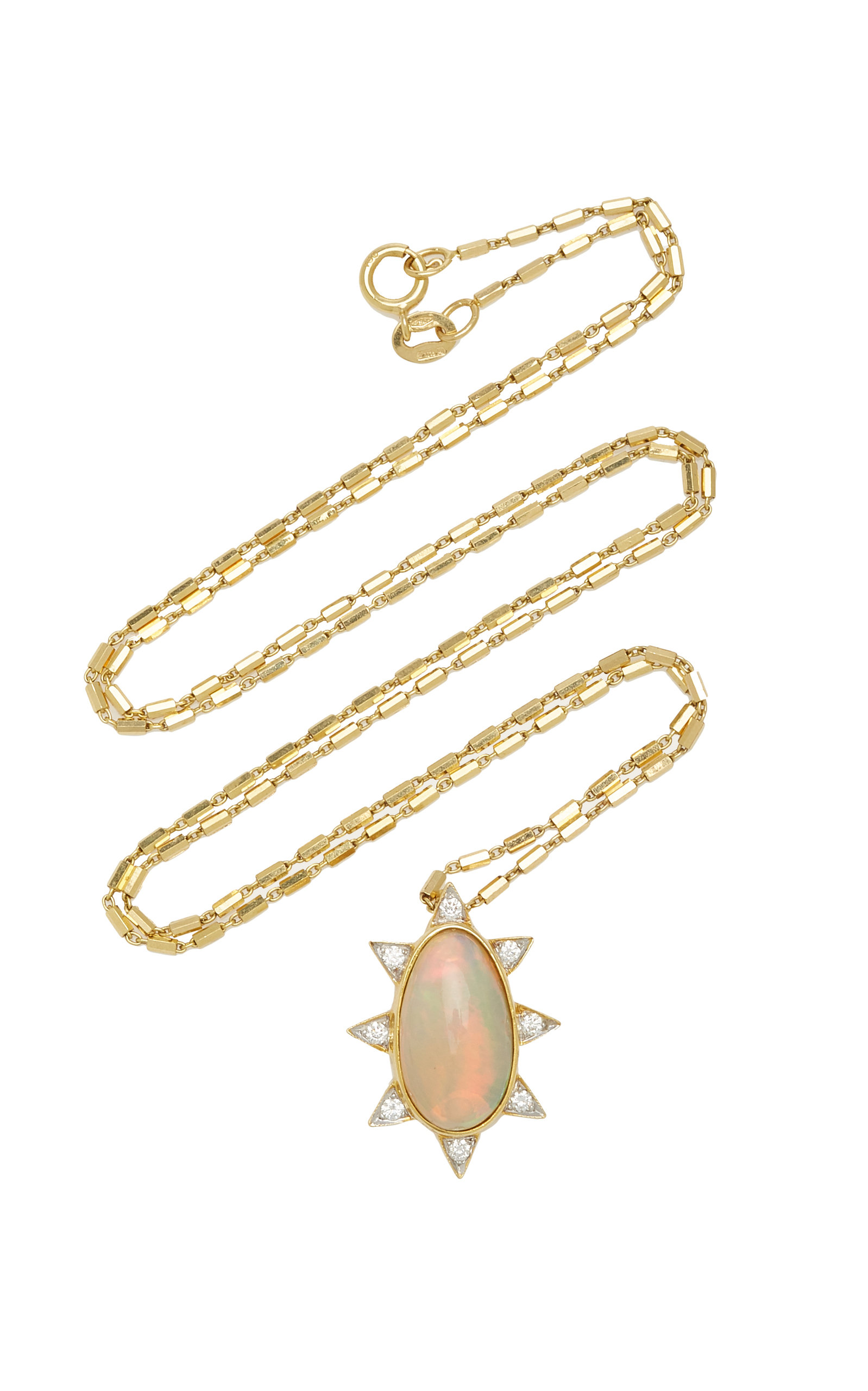 Women's Burst 18K Yellow Gold Oval; Diamond Necklace