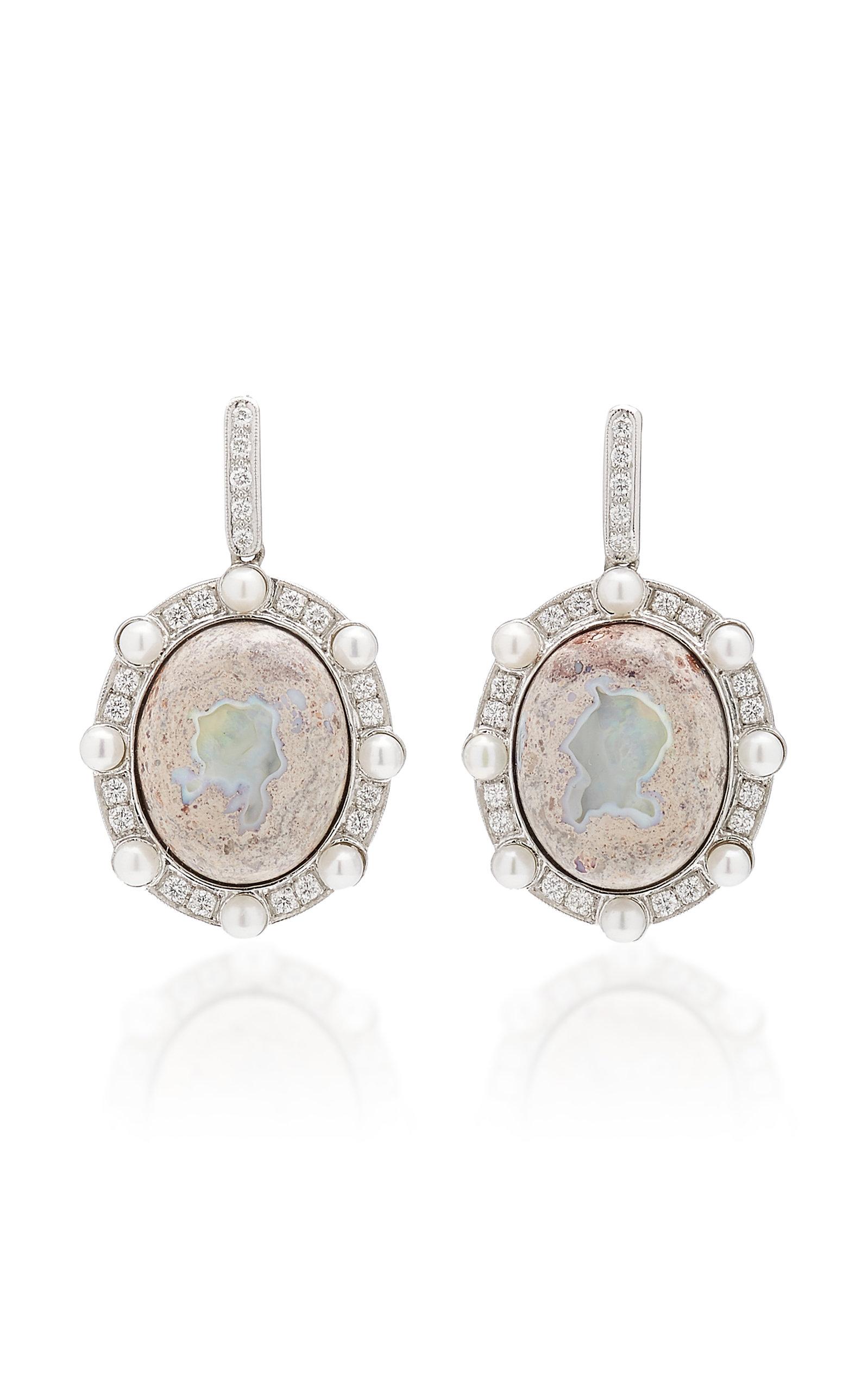Women's Lunar Orbit 18K White Gold Opal Earrings