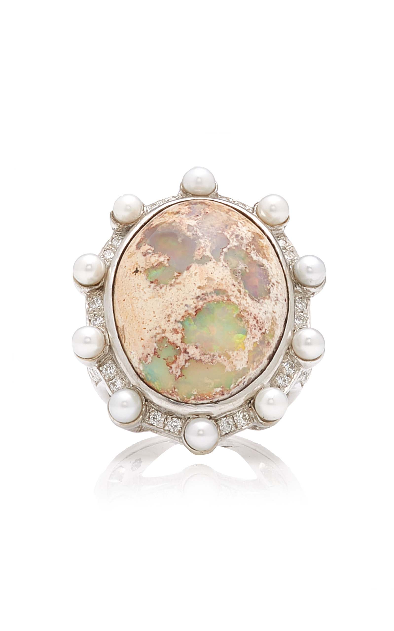 Women's Lunar Orbit 18K White Gold Opal Ring