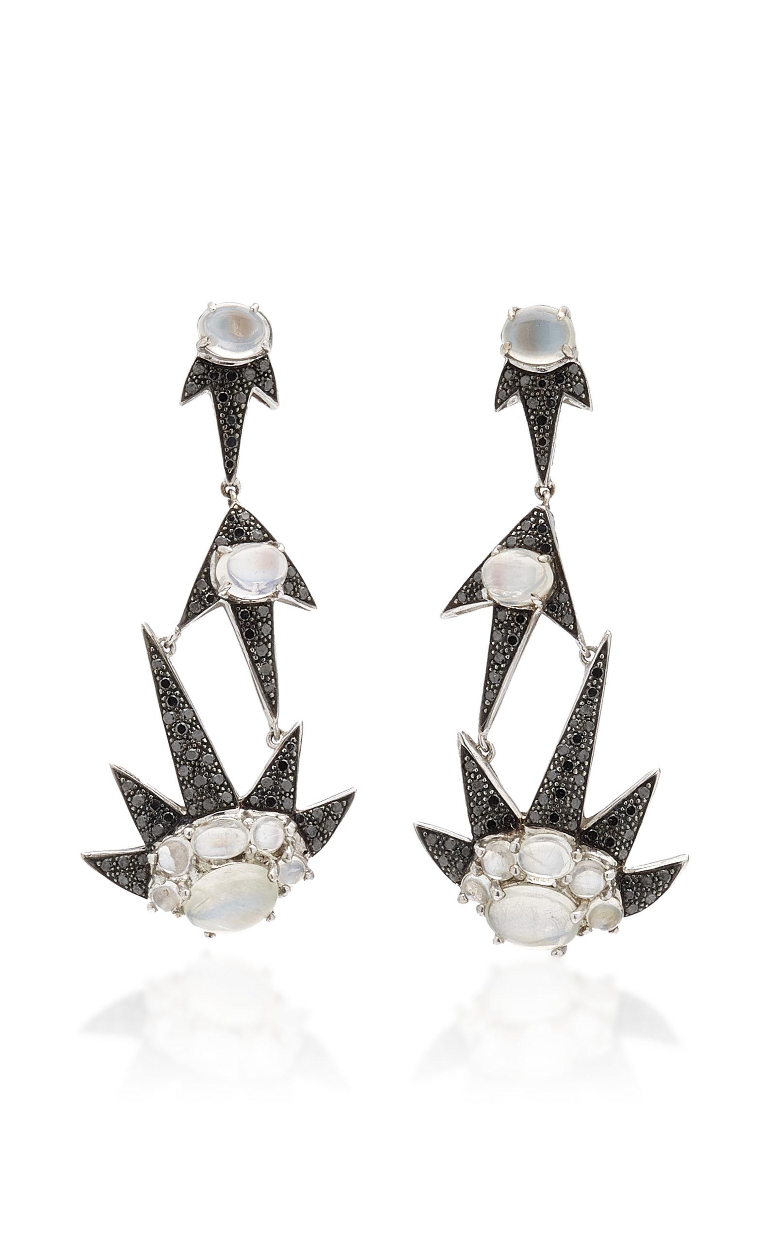 Women's Triple Starburst 18K White Gold Moonstone; Diamond Earrings