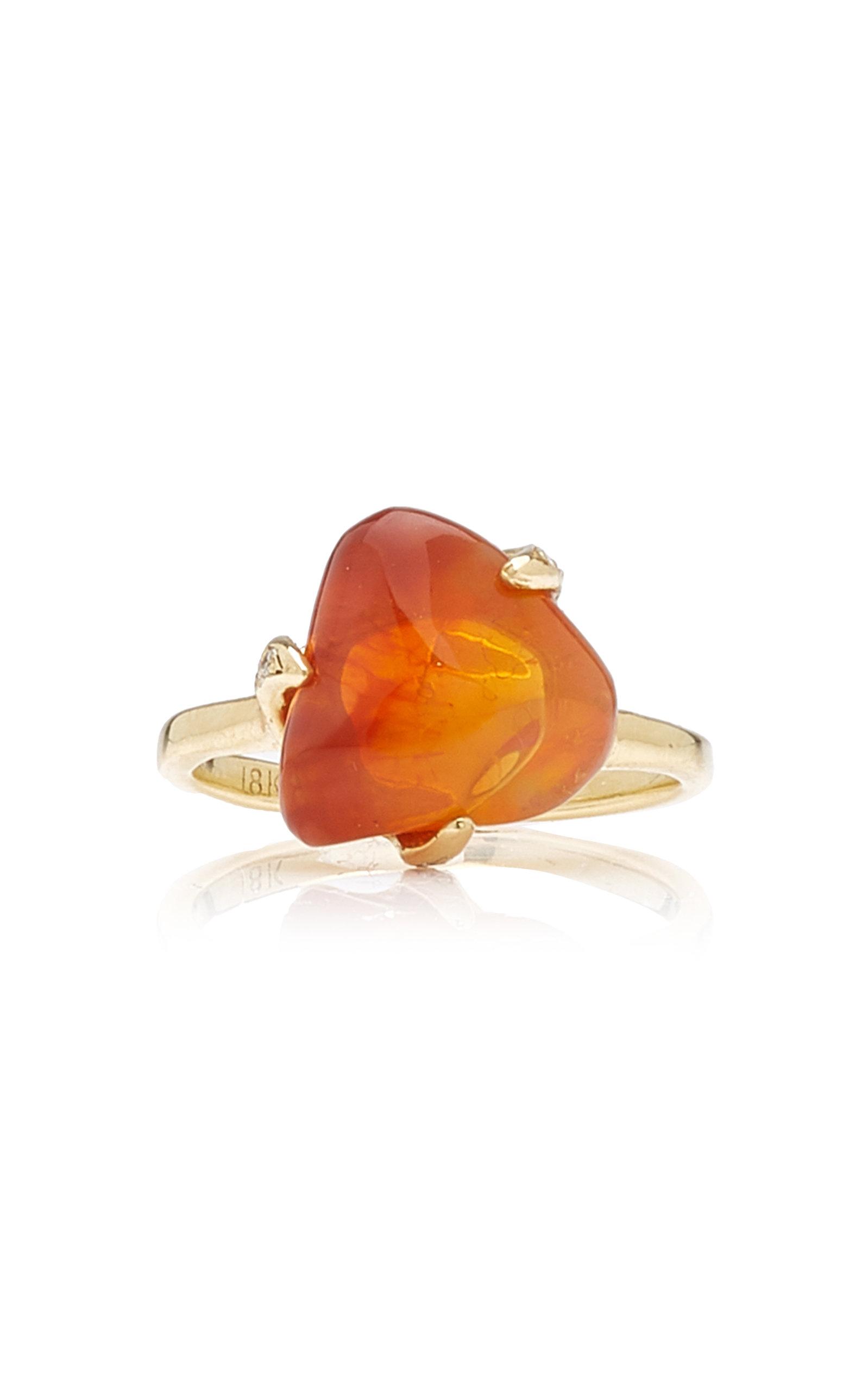 M.Spalten - Women's Tumbled Opal 18K Yellow Gold Ring - Orange - Moda Operandi
