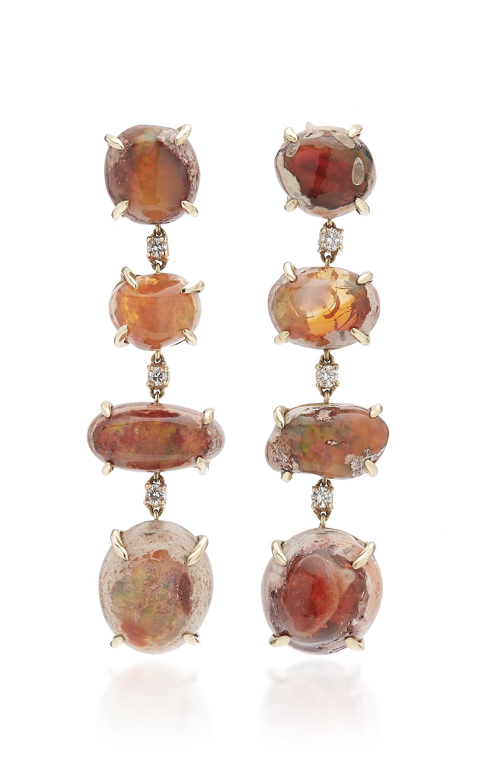 M.Spalten - Women's 14K Yellow Gold Opal Earrings - Orange - Moda Operandi