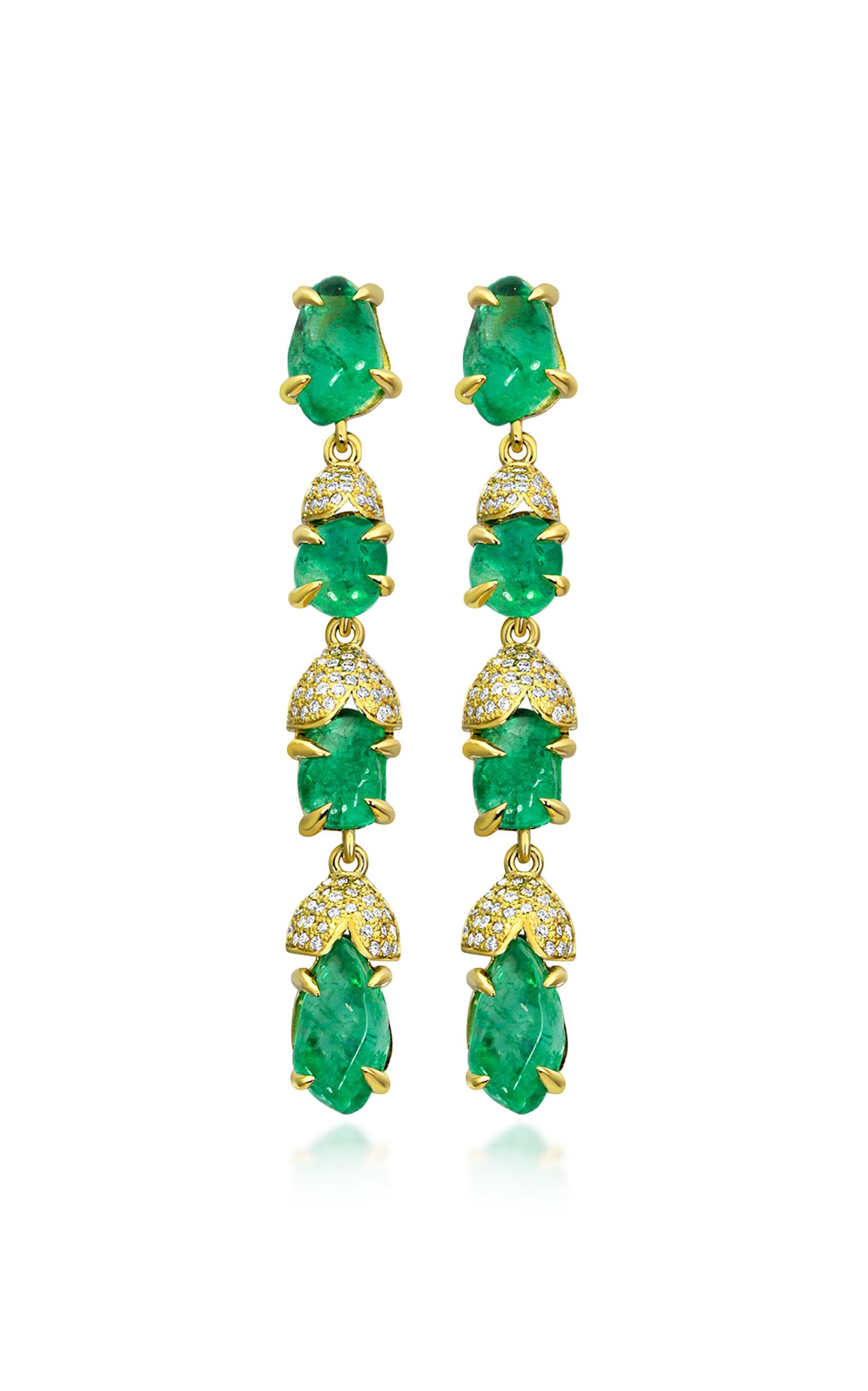 Women's Glacial 18K Yellow Gold Emerald Earrings