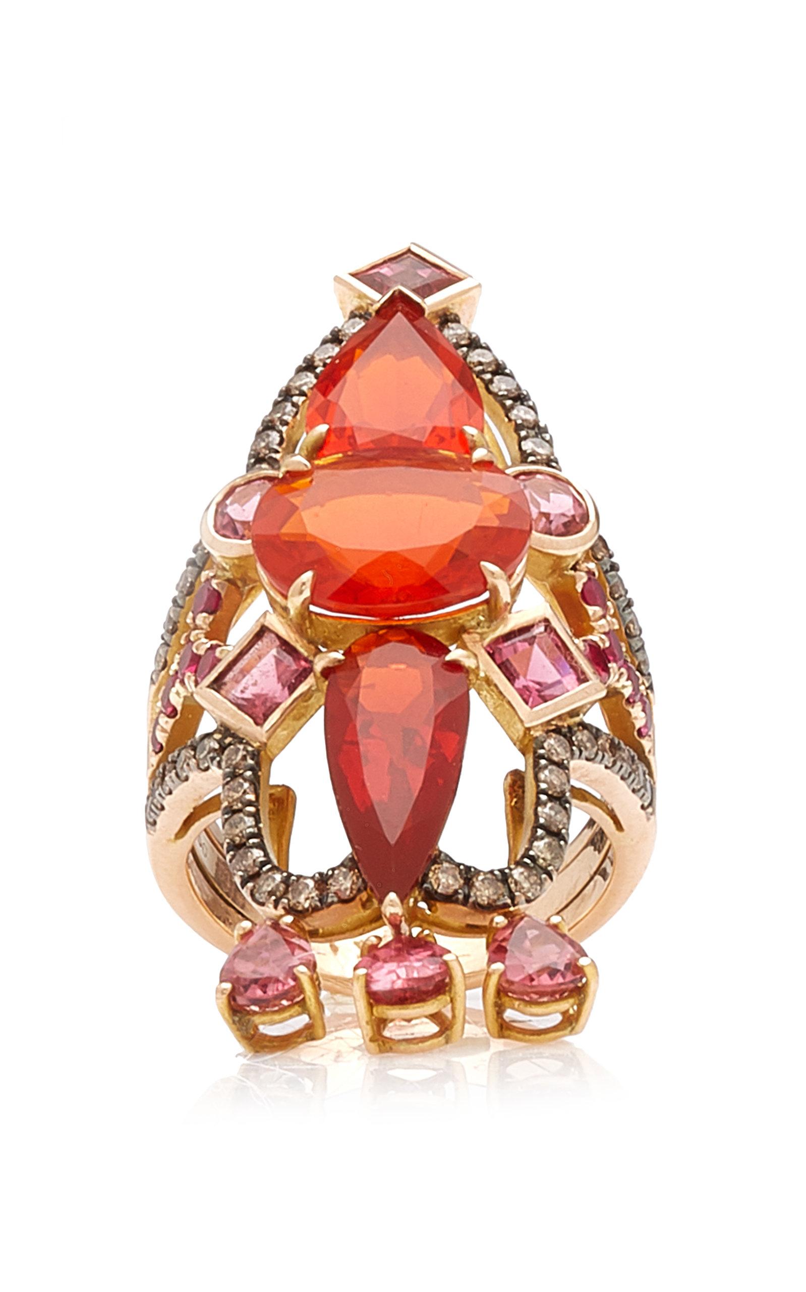M.Spalten - Women's Empress 18K Rose Gold Multi-Stone Ring - Pink - Moda Operandi