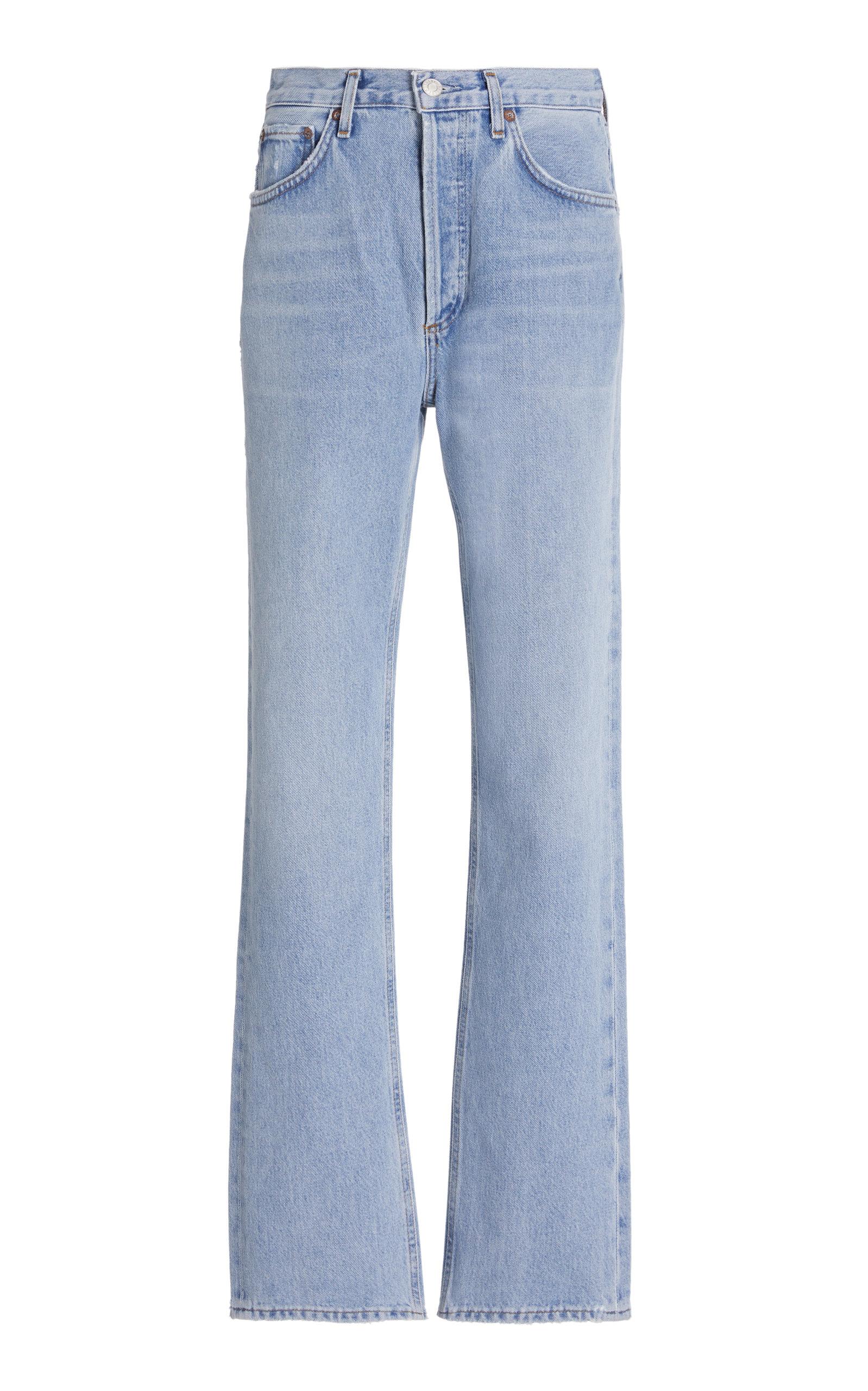 Agolde - Women's Lana Rigid Mid-Rise Straight Leg Jeans  - Light Wash - Moda Operandi