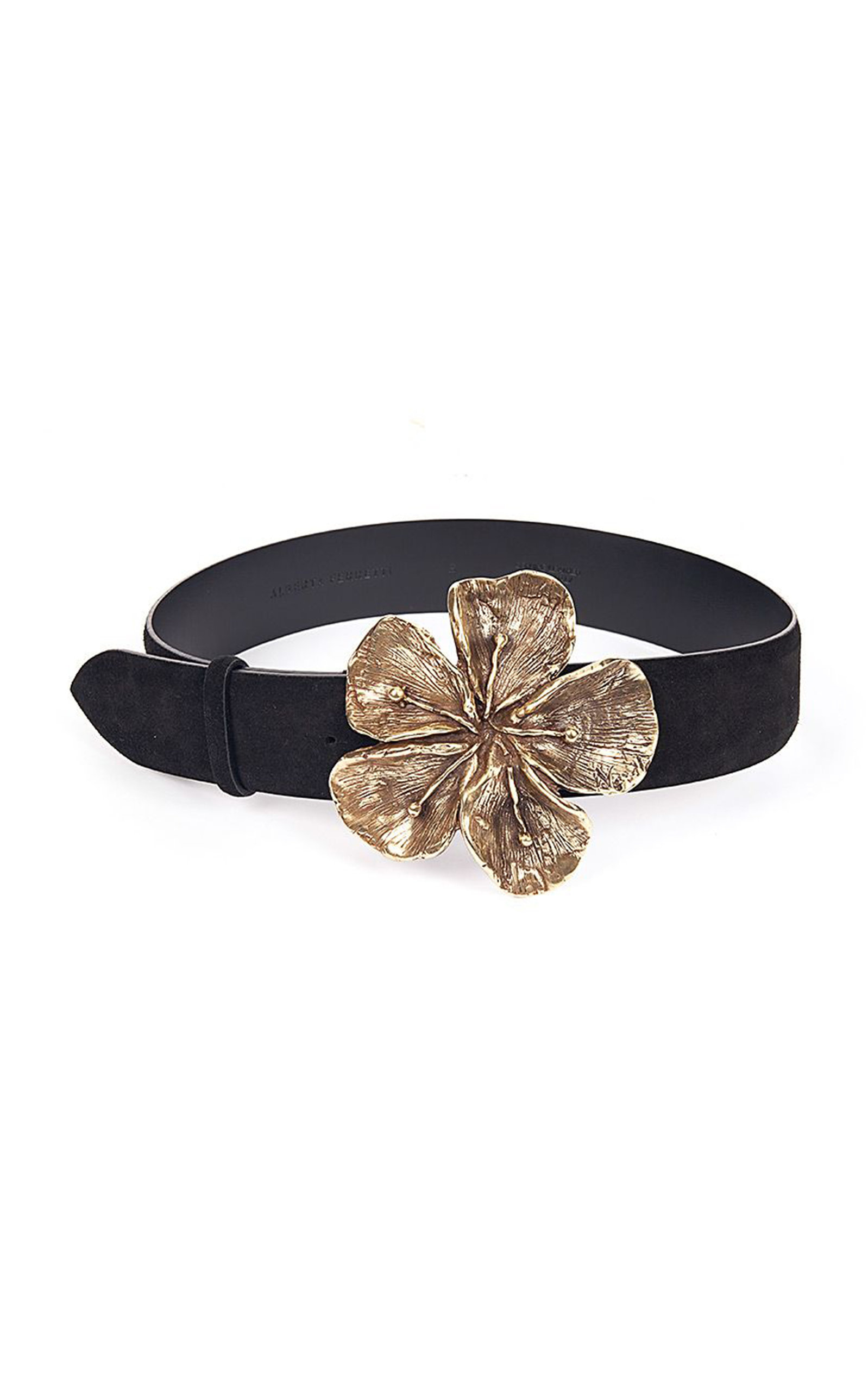 Alberta Ferretti Women's Hibiscus Metal And Suede Calf Leather Belt In Black