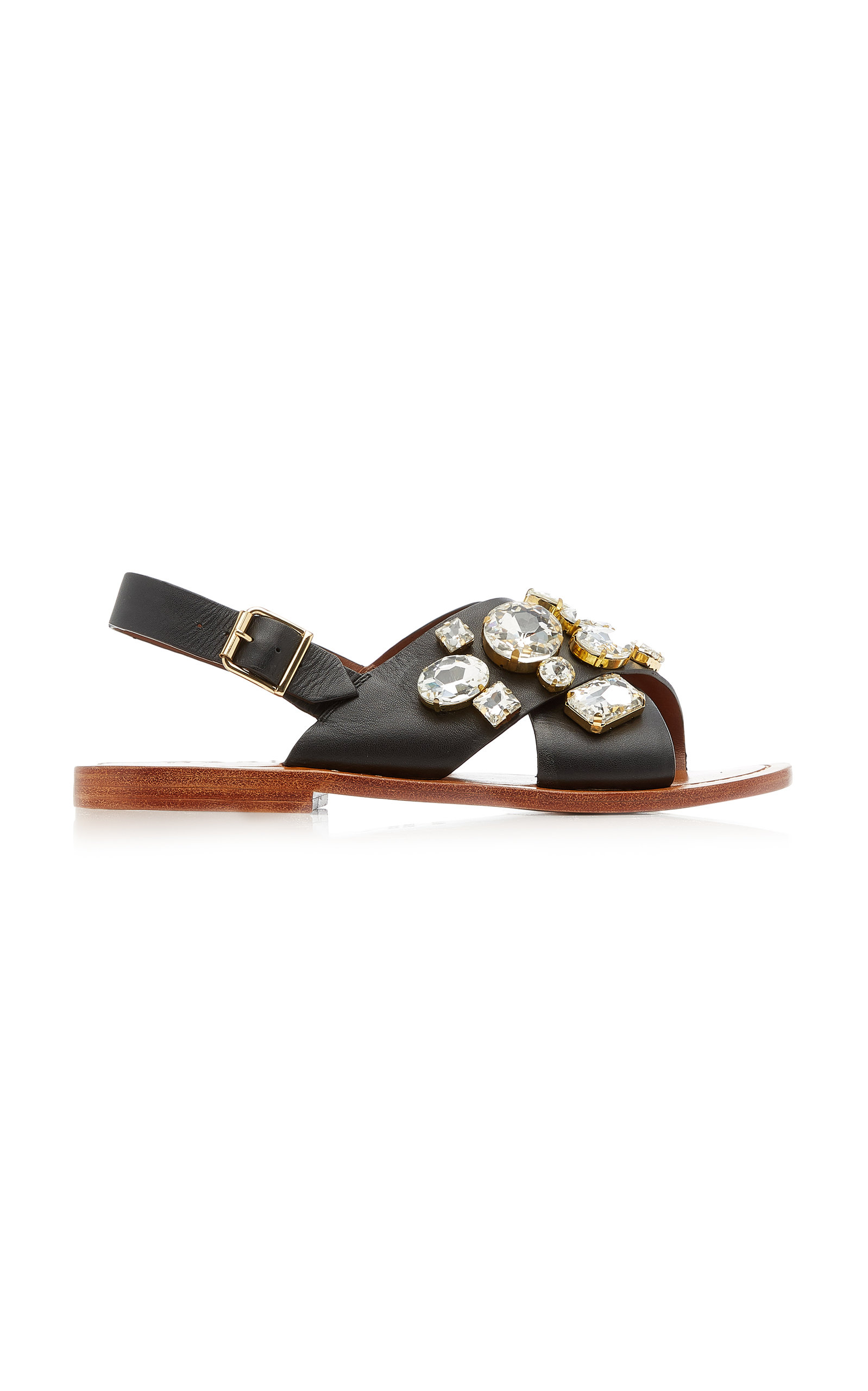 Marni Sandals WOMEN'S CRYSTAL-EMBELLISHED LEATHER SANDALS