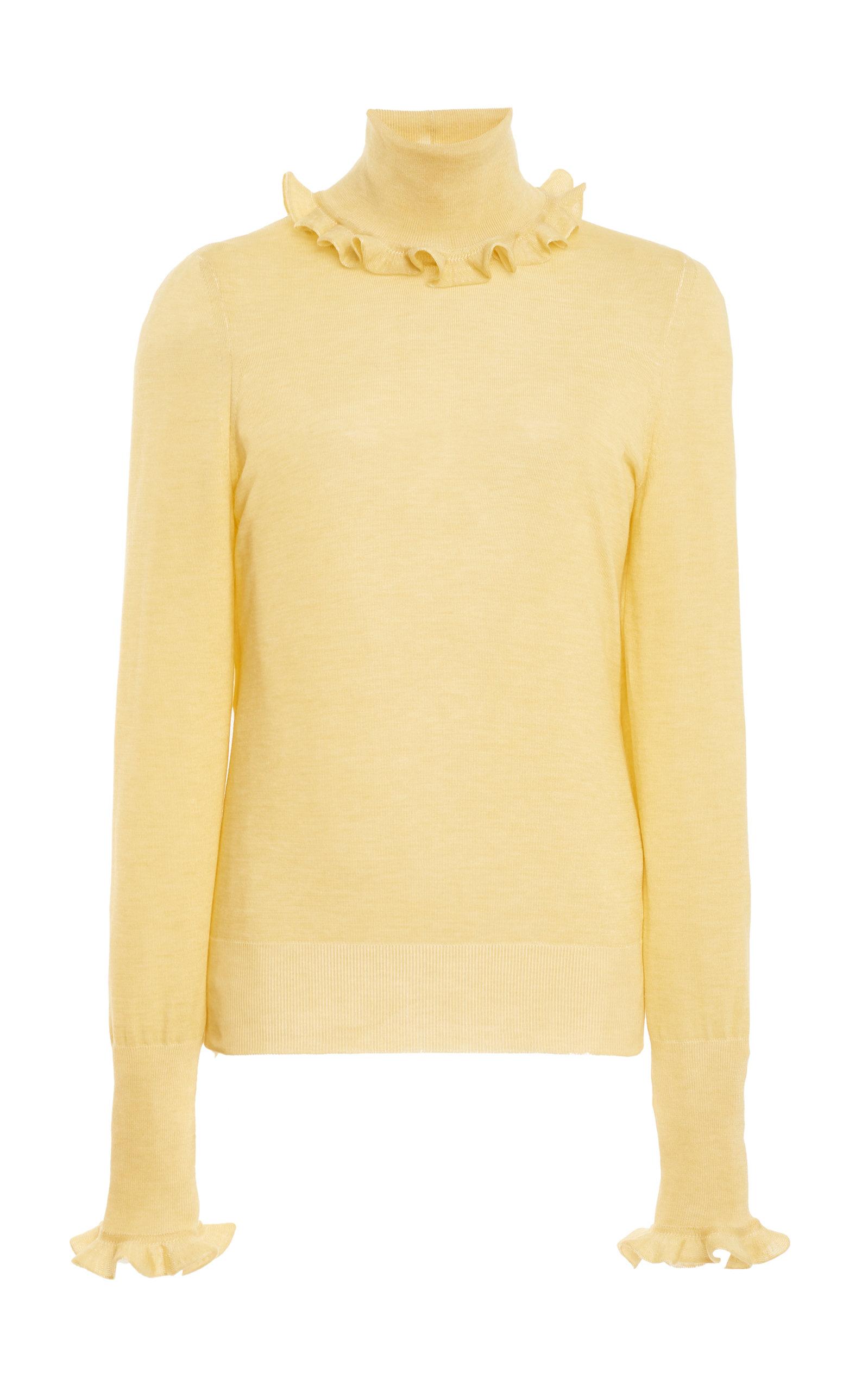 Victoria Beckham Frill Detail Polo Shirt In Neutral
