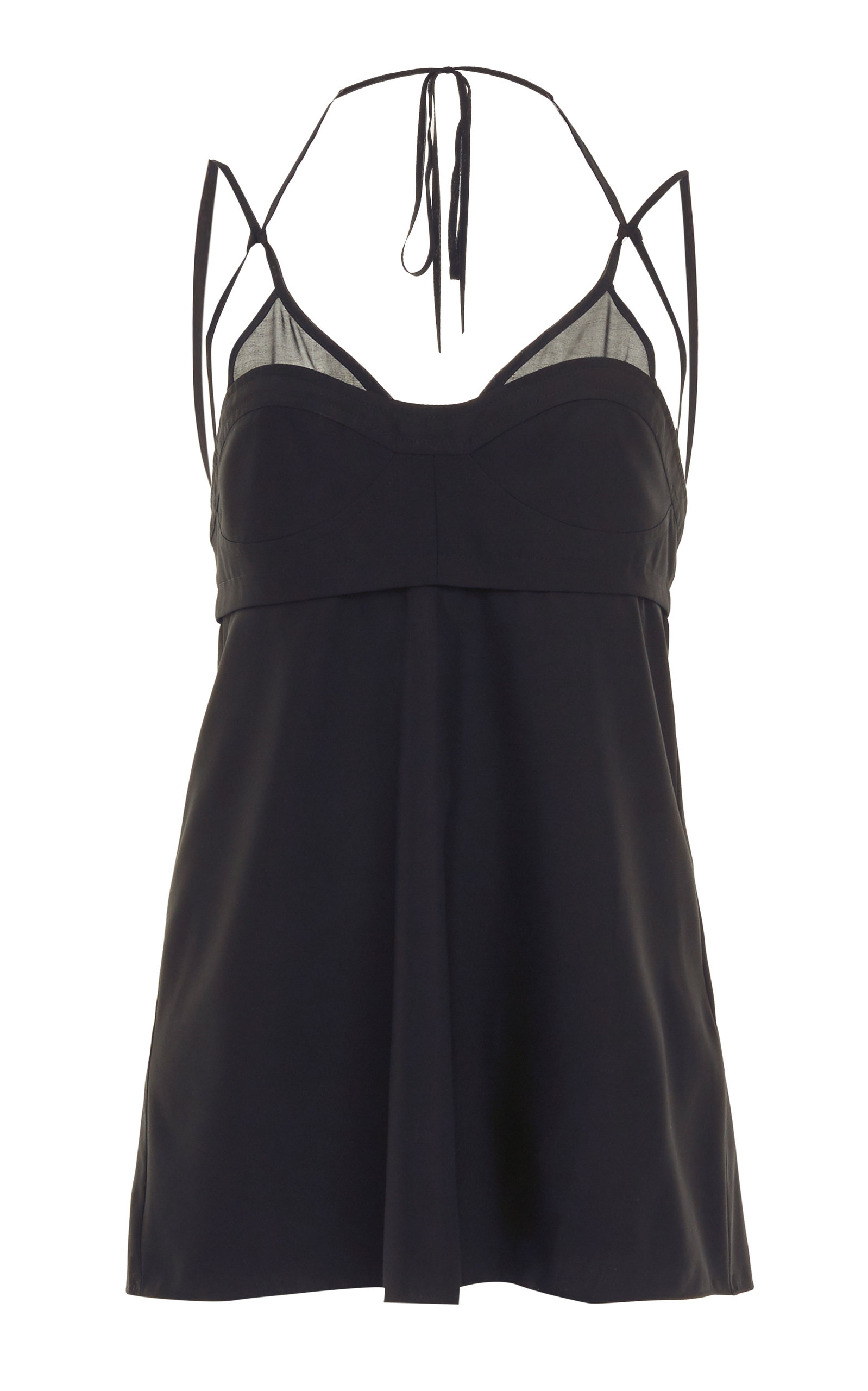 Victoria Beckham Silk Poplin Layered Bra Cami Top In Black