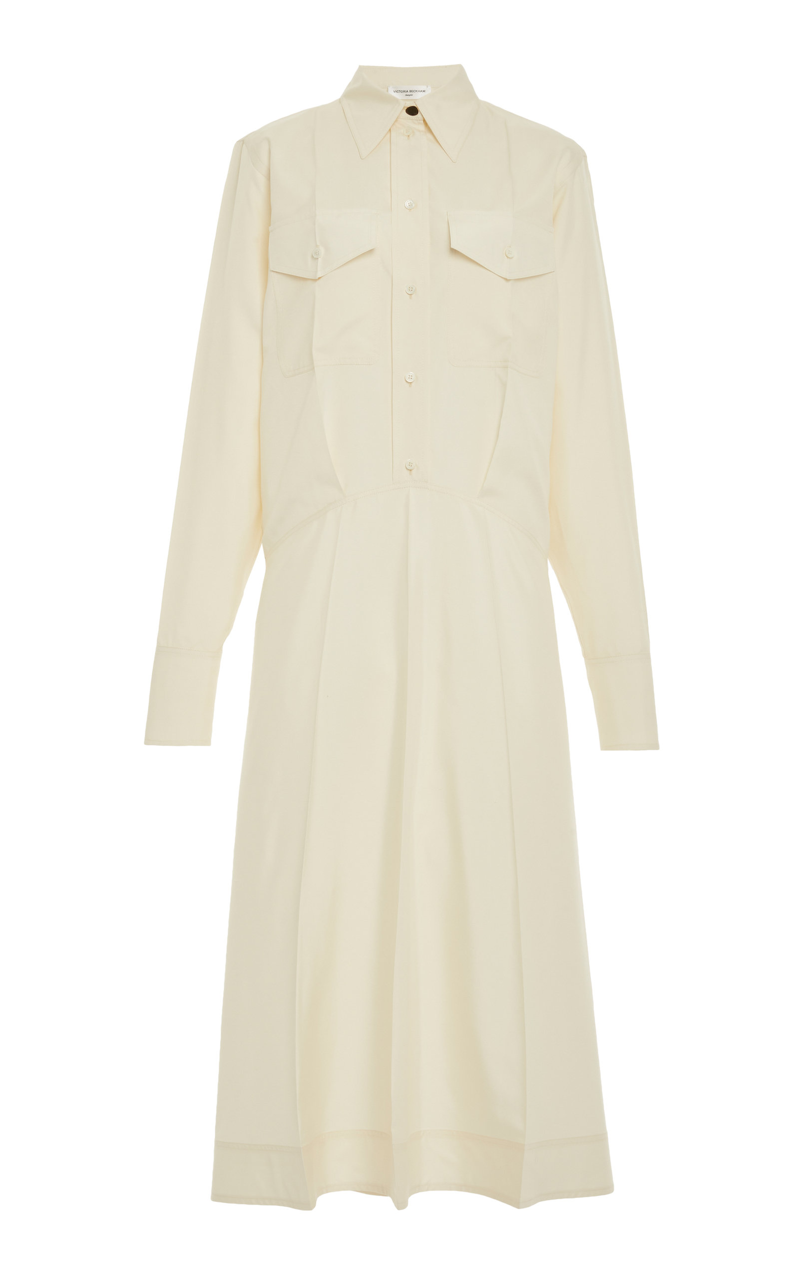 Victoria Beckham Silk Poplin Utility Shirt Dress In White