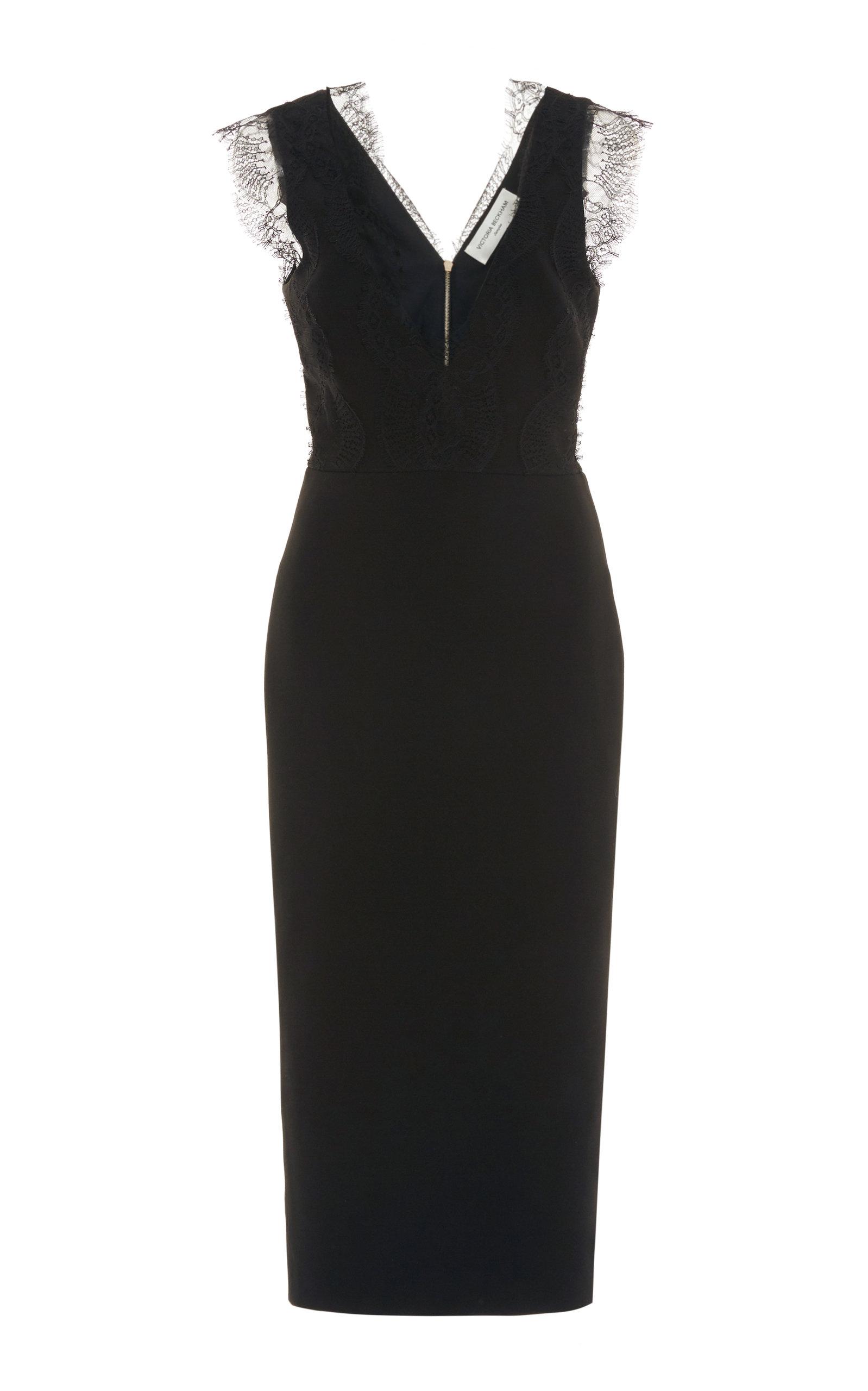 Victoria Beckham Bonded Crepe Lace Detail Midi Dress In Black