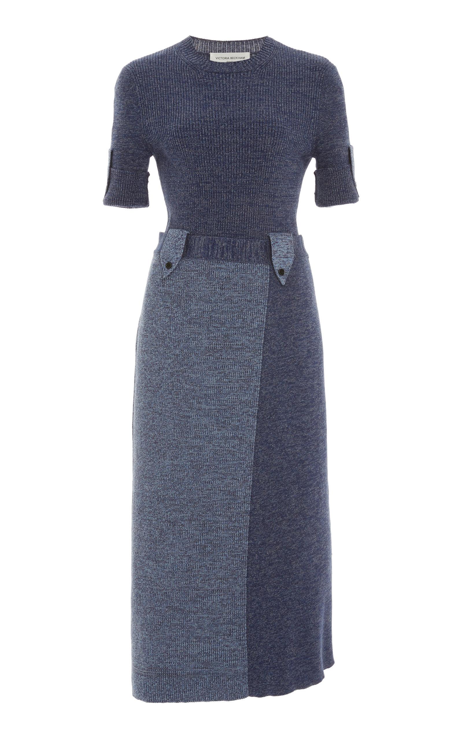 Victoria Beckham Cotton Military Dress In Multi
