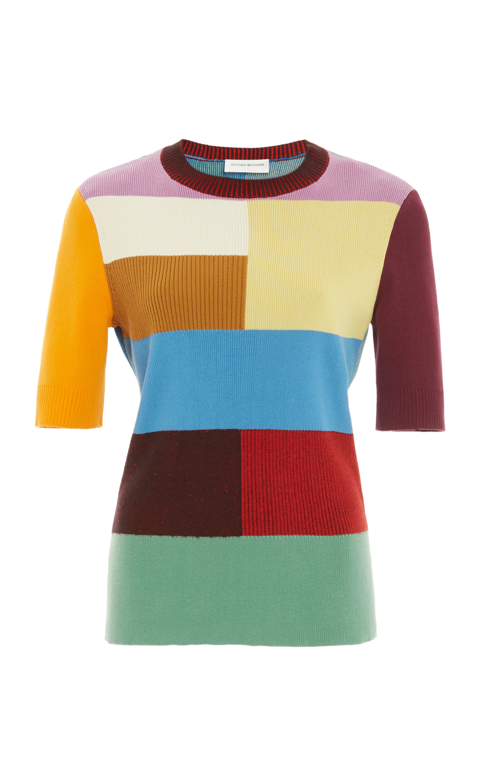 Victoria Beckham Colorblocked Knit Top In Multi