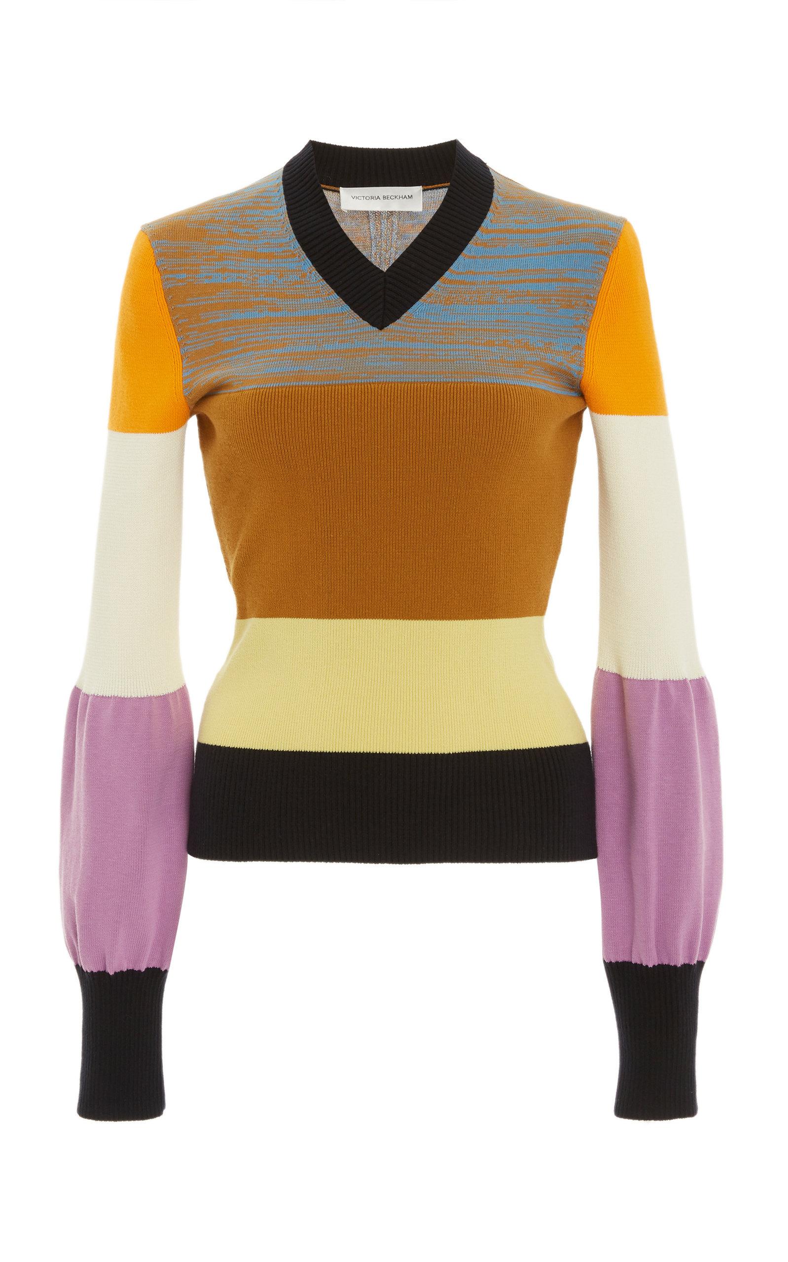 Victoria Beckham Colorblocked Cotton-blend Knit V-neck Sweater In Multi