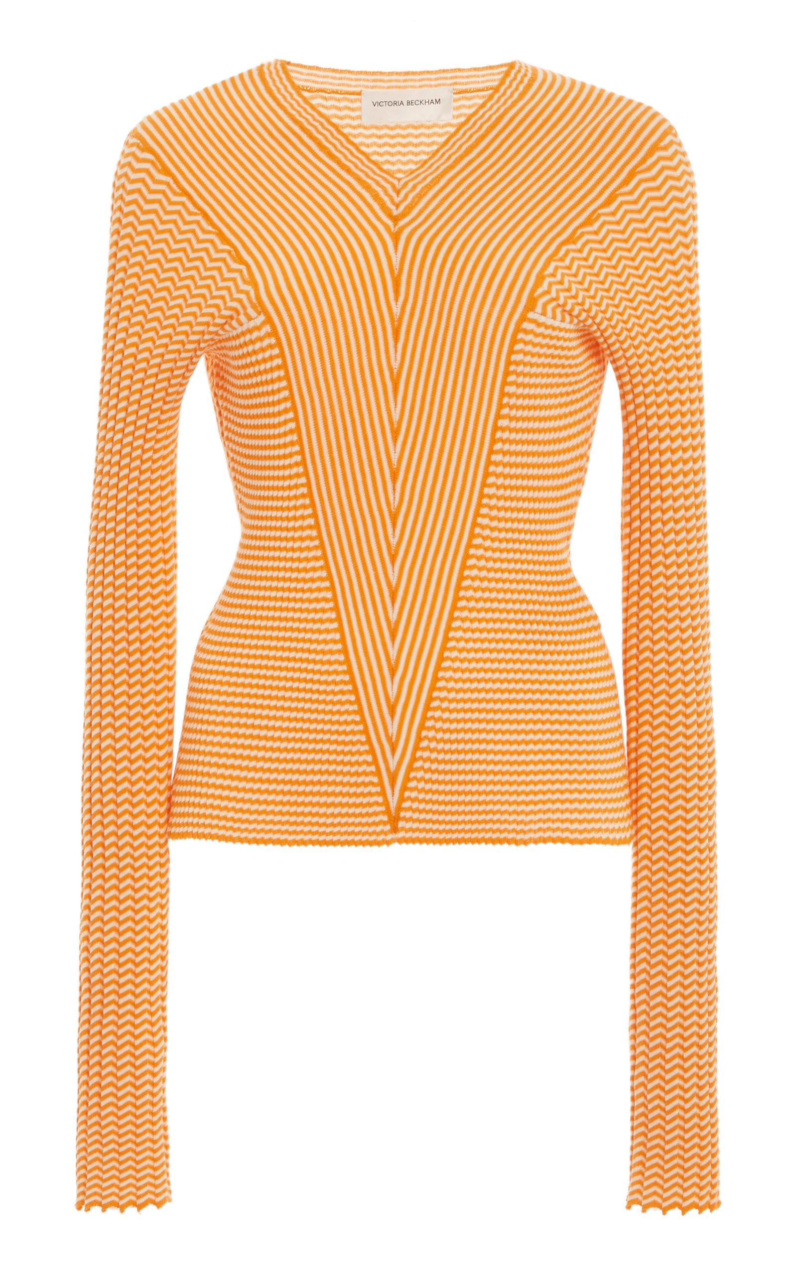 Victoria Beckham Mini Striped Cotton V-neck Top In Orange