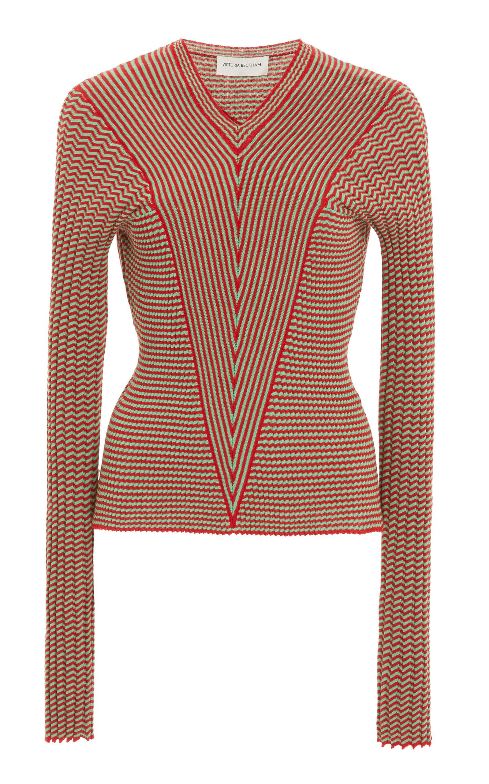 Victoria Beckham Mini Striped Cotton V-neck Top