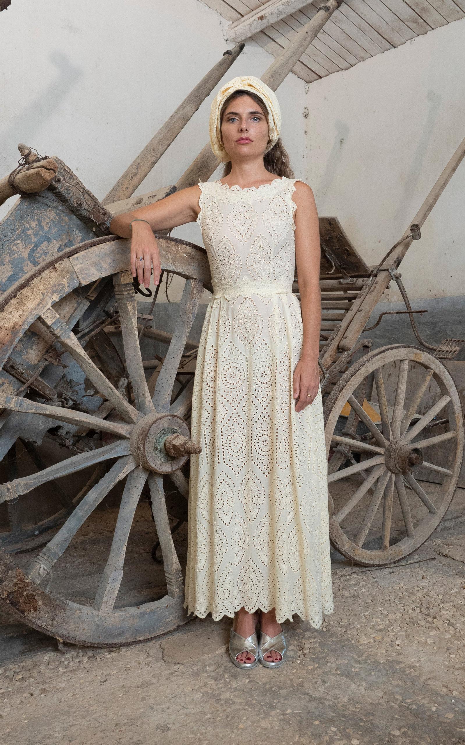 Luisa Beccaria Broderie-cotton Midi Dress In Green