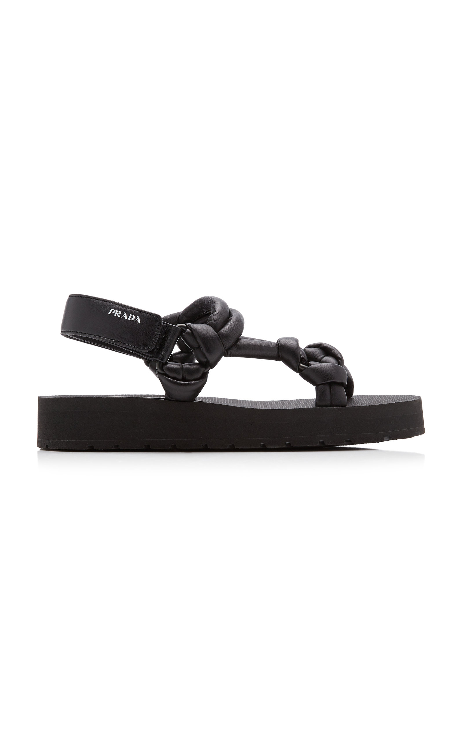 Prada WOMEN'S KNOTTED PADDED LEATHER SANDALS