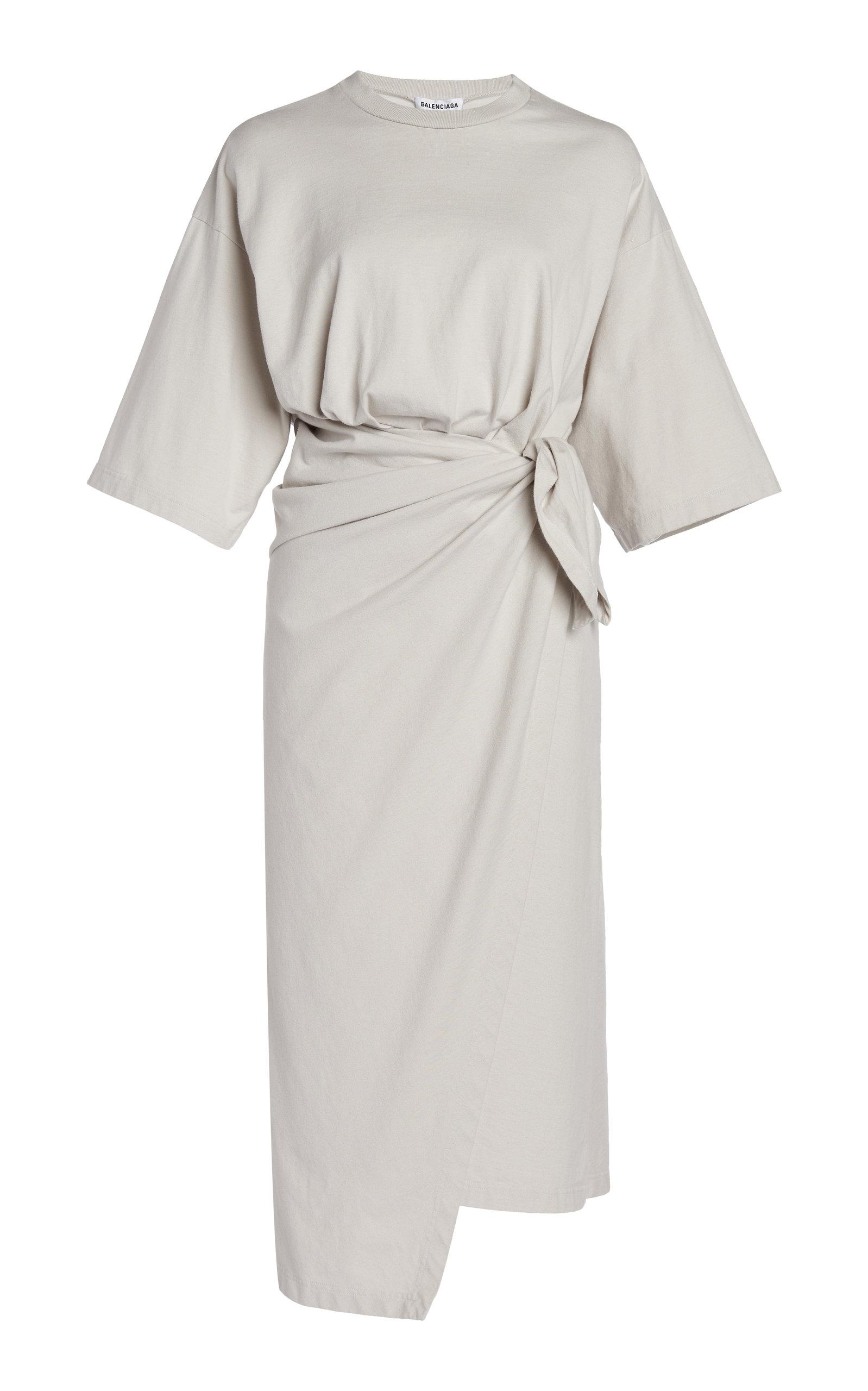 Balenciaga WOMEN'S COTTON JERSEY WRAP-EFFECT MIDI T-SHIRT DRESS