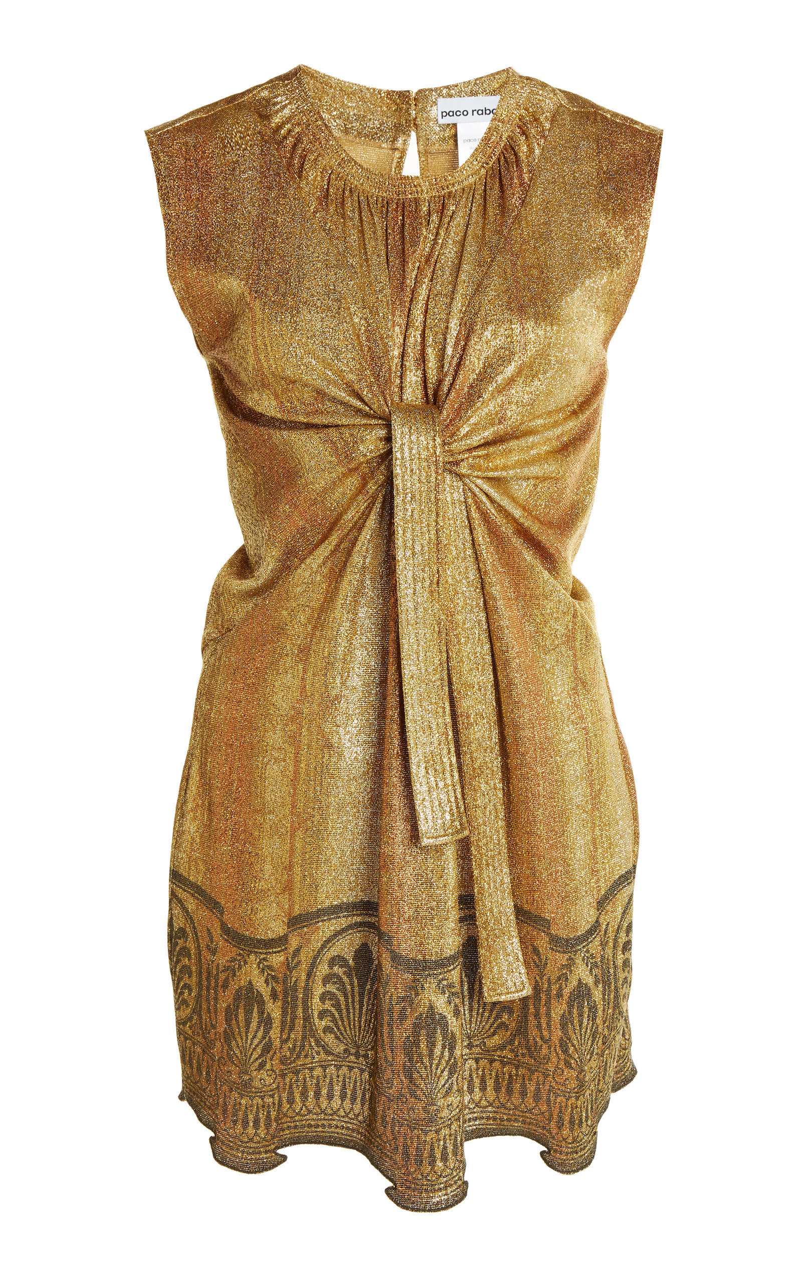 Paco Rabanne Women's Printed Lurex-jersey Tunic Top In Gold