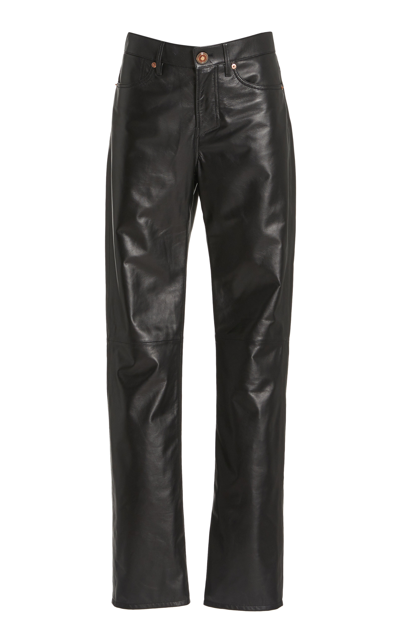 Gabriela Hearst CHARLES LEATHER STRAIGHT-LEG PANTS