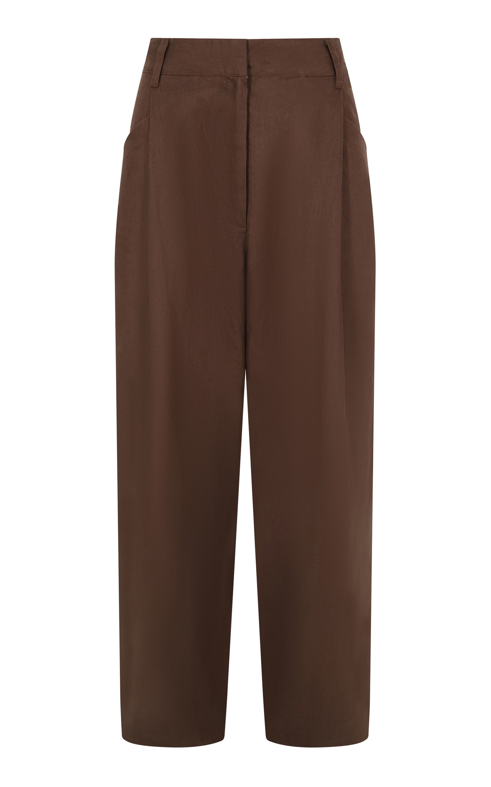Women's Pleated Linen Straight-Leg Trousers