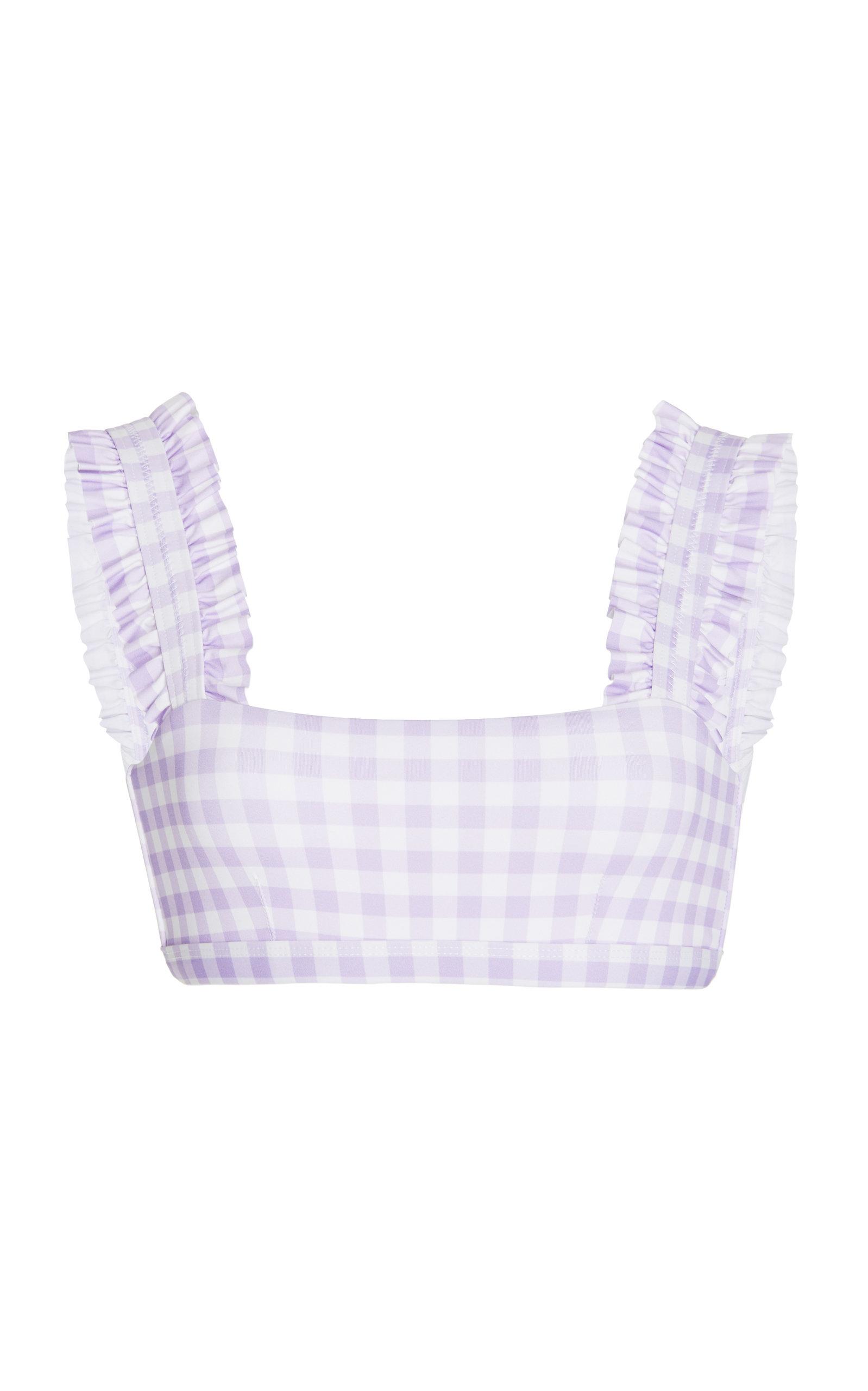 Women's Ruffled Gingham Bikini Top