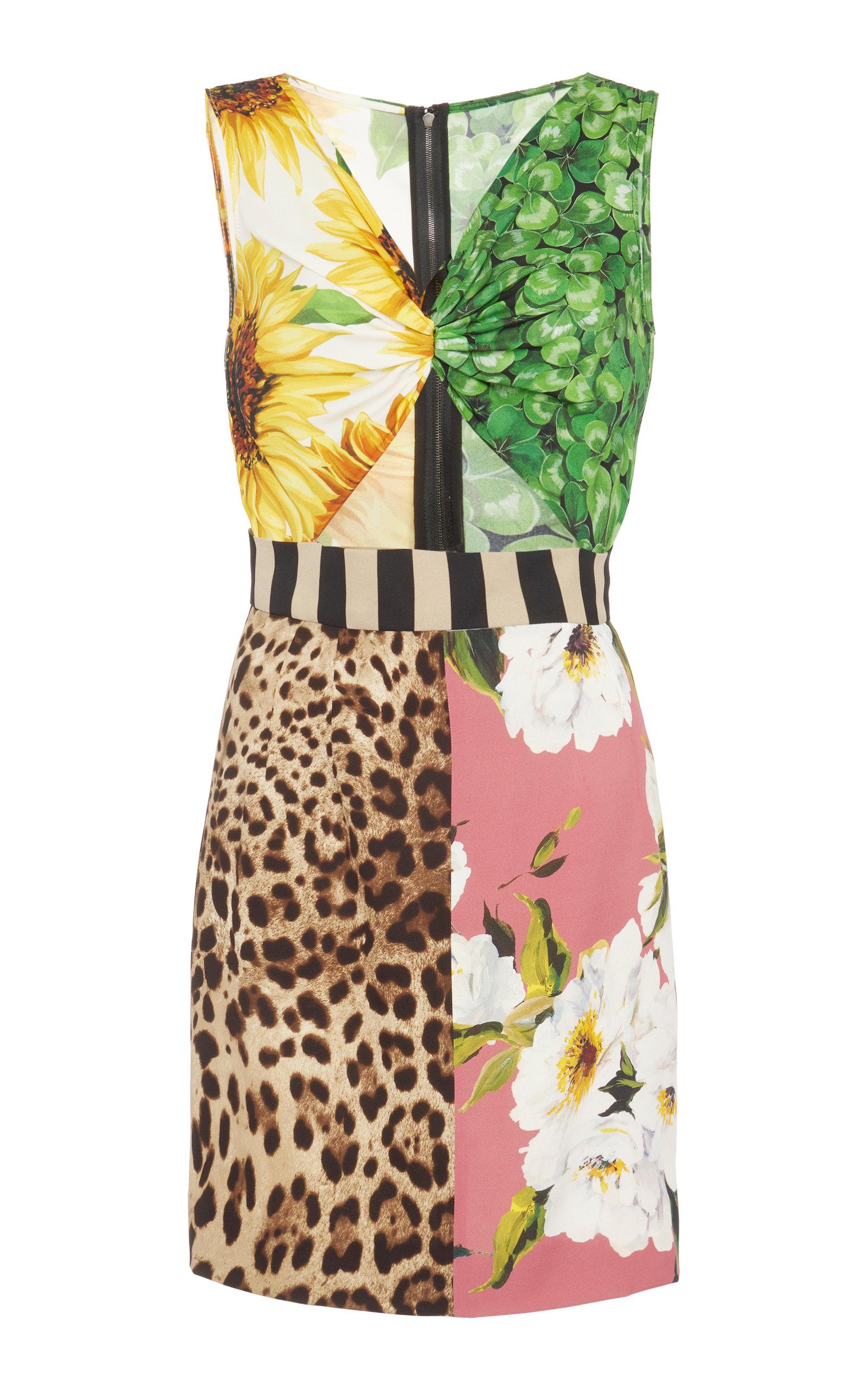 Dolce & Gabbana WOMEN'S CUTOUT PATCHWORK-PRINTED SILK MINI DRESS