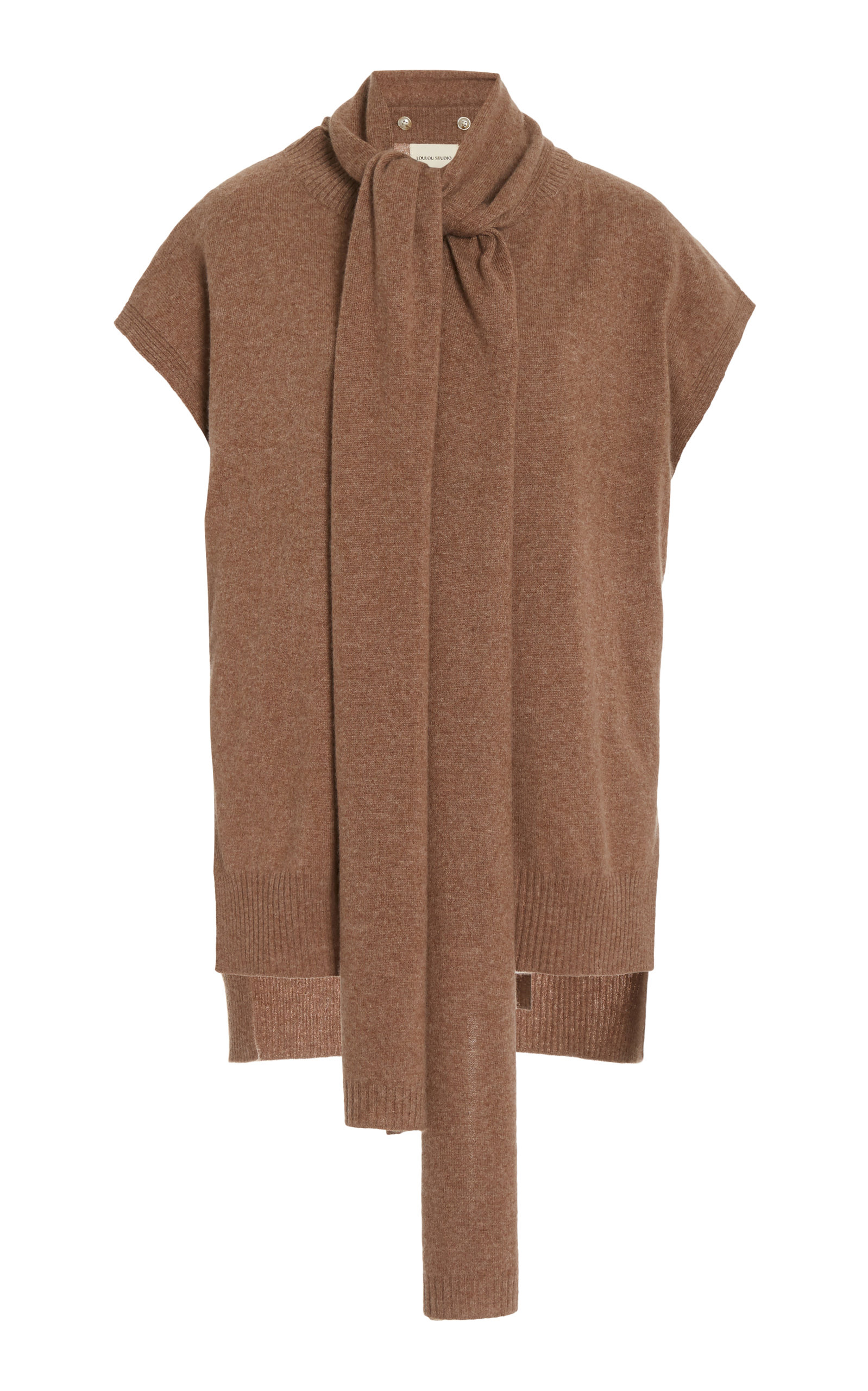 Loulou Studio MONBASA SCARF DETAIL CASHMERE SWEATER