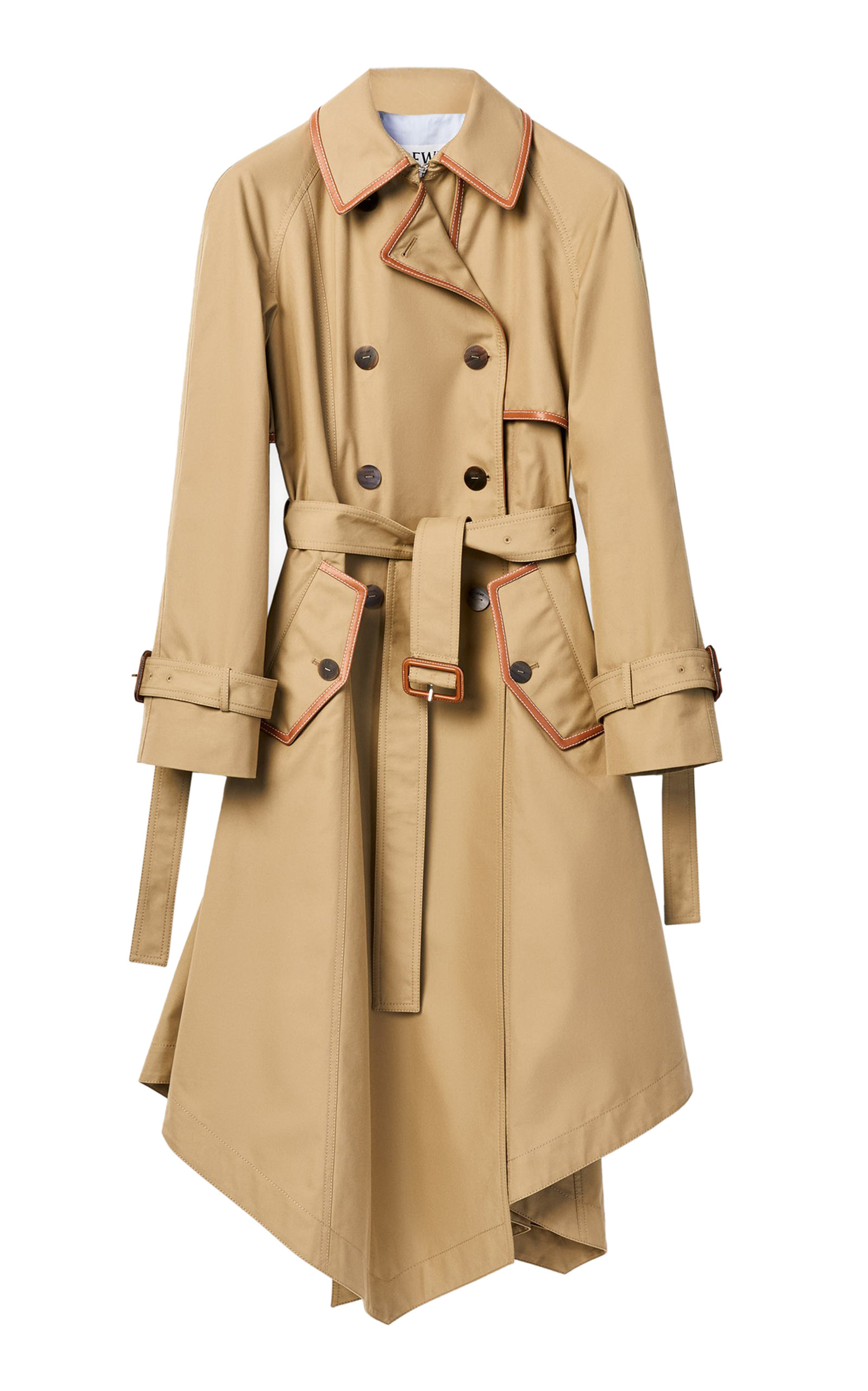 Loewe ASYMMETRIC DOUBLE-BREASTED COTTON-GABARDINE TRENCH COAT