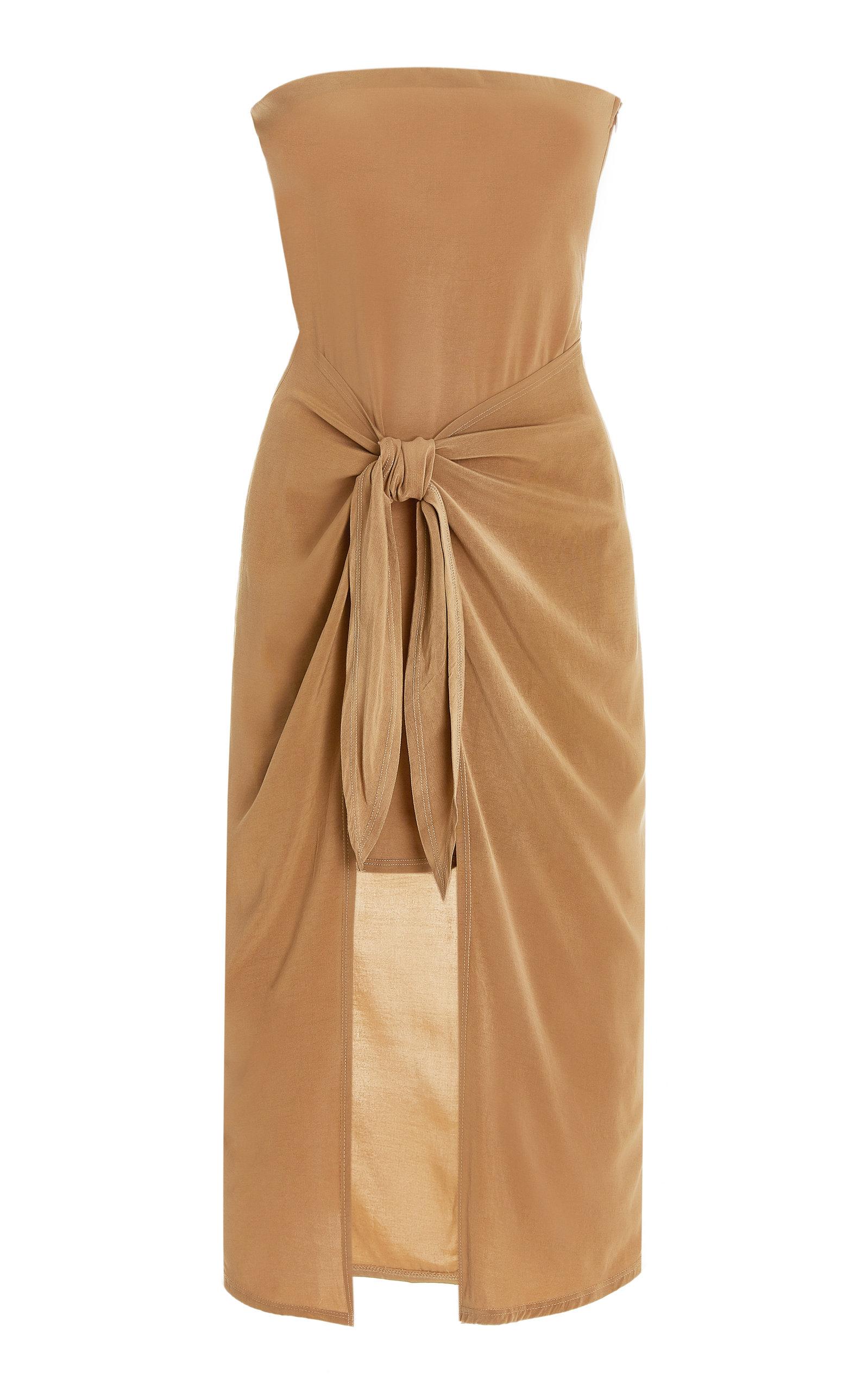 Women's DK Strapless Wrap-Effect Woven Midi Dress