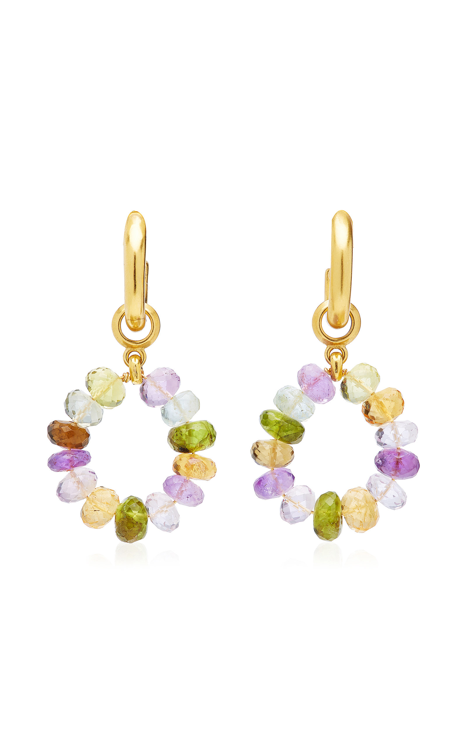 Women's Dazzle 24k Gold-Plated and Gemstone Hoops