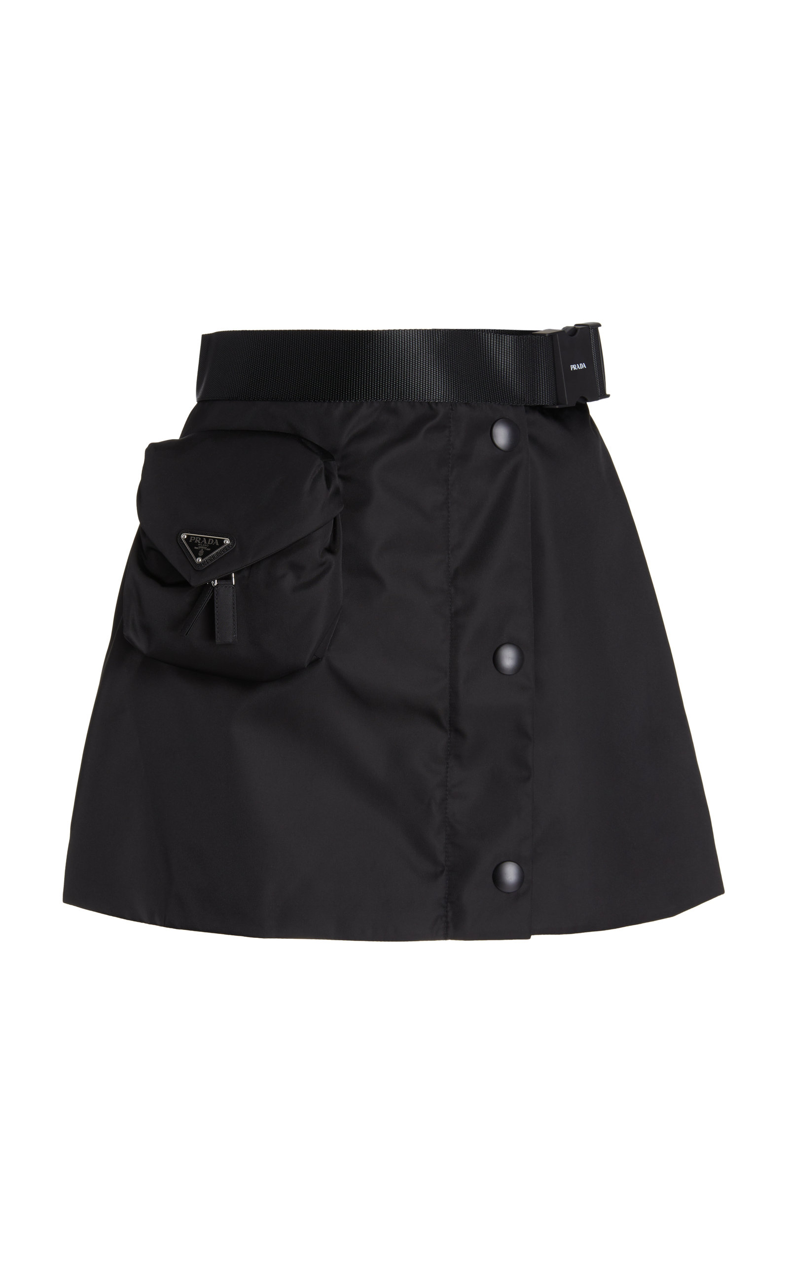 Prada LOGO-DETAILED NYLON GABERDINE MINI SKIRT