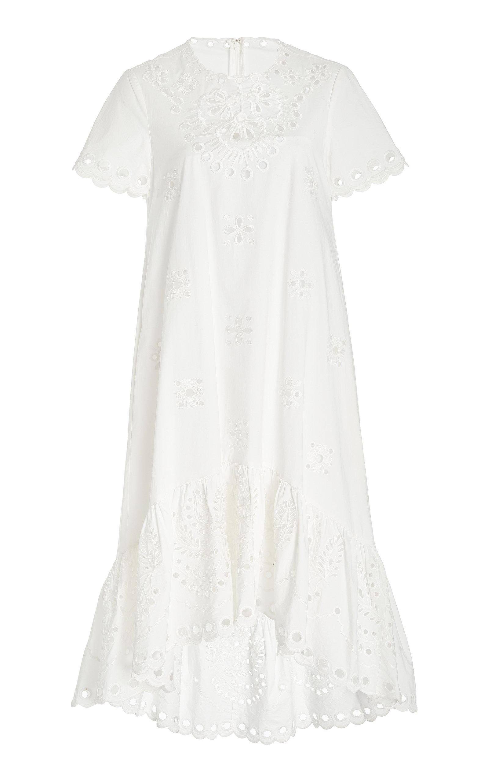 Red Valentino Women's Broderie Anglaise Cotton Midi Dress In 0bo Bianco