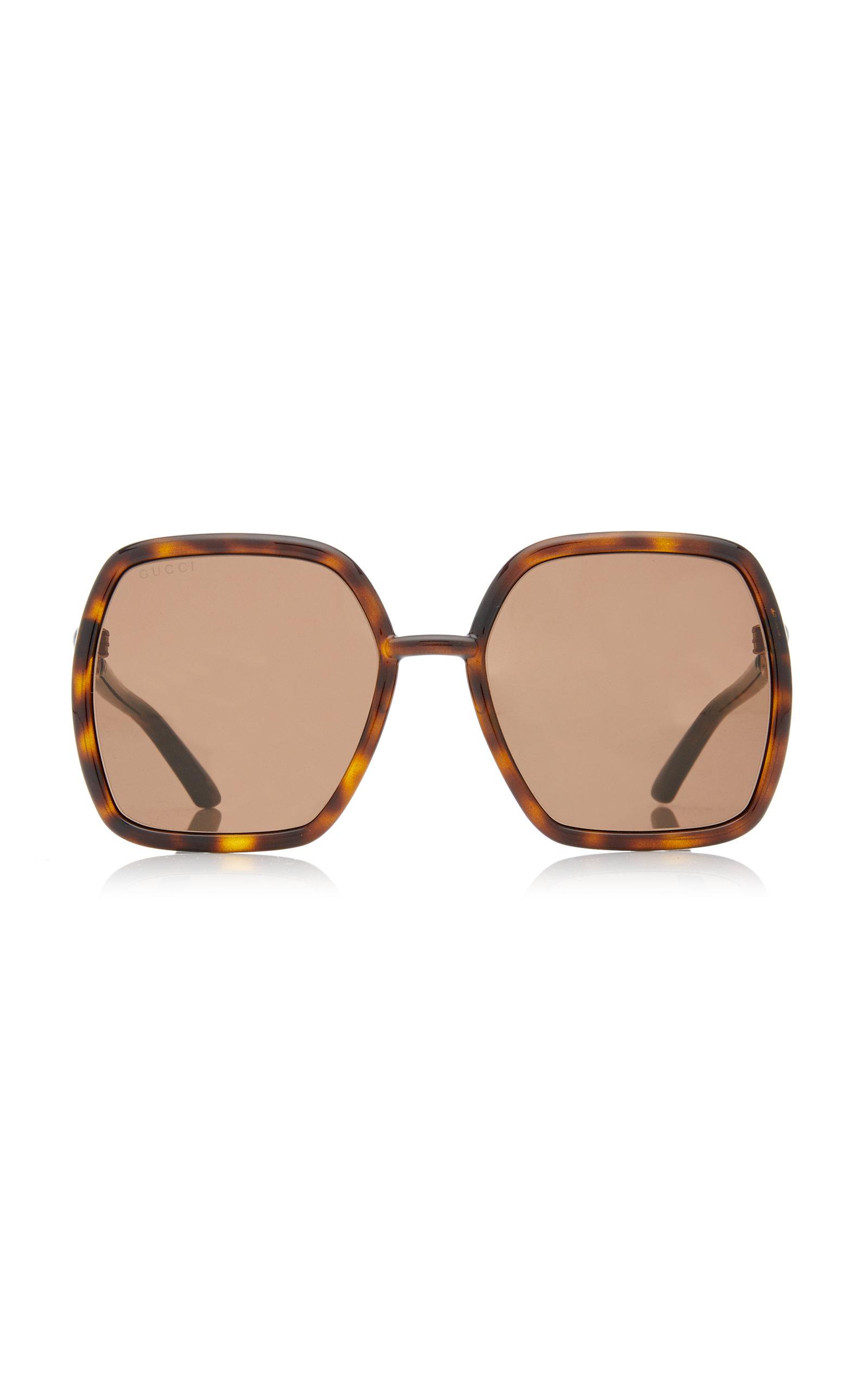 Gucci - Women's Oversized Square-Frame Injection Sunglasses - Pink/brown - Moda Operandi