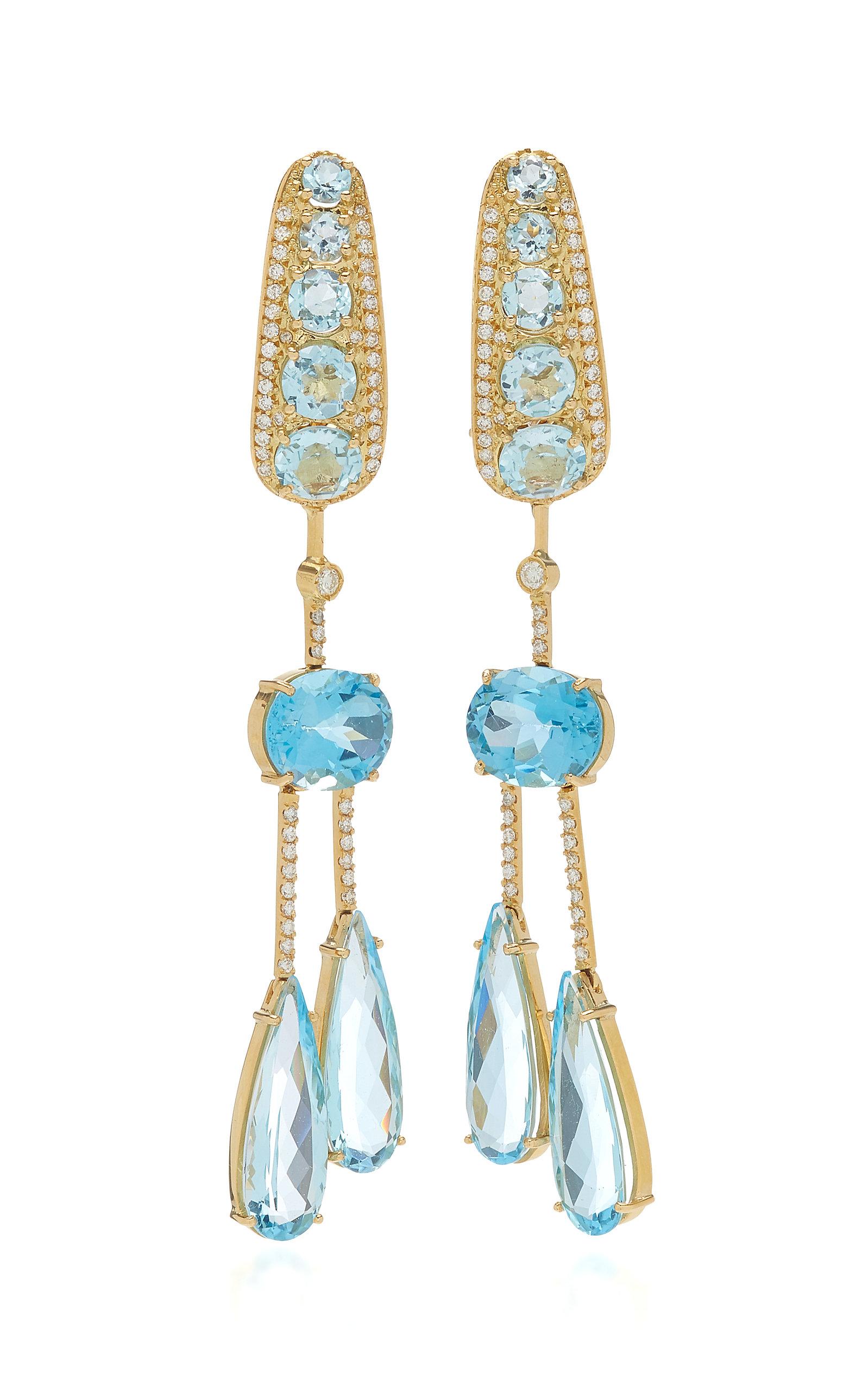 Women's Amazonia 18K Yellow Gold Topaz; Diamond Earrings