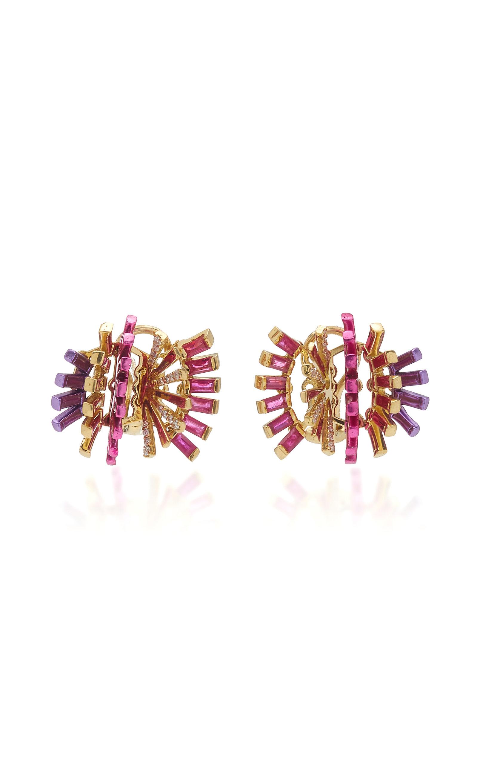 Women's Hedgehog 18K Yellow Gold Ruby; Diamond Clip Earrings