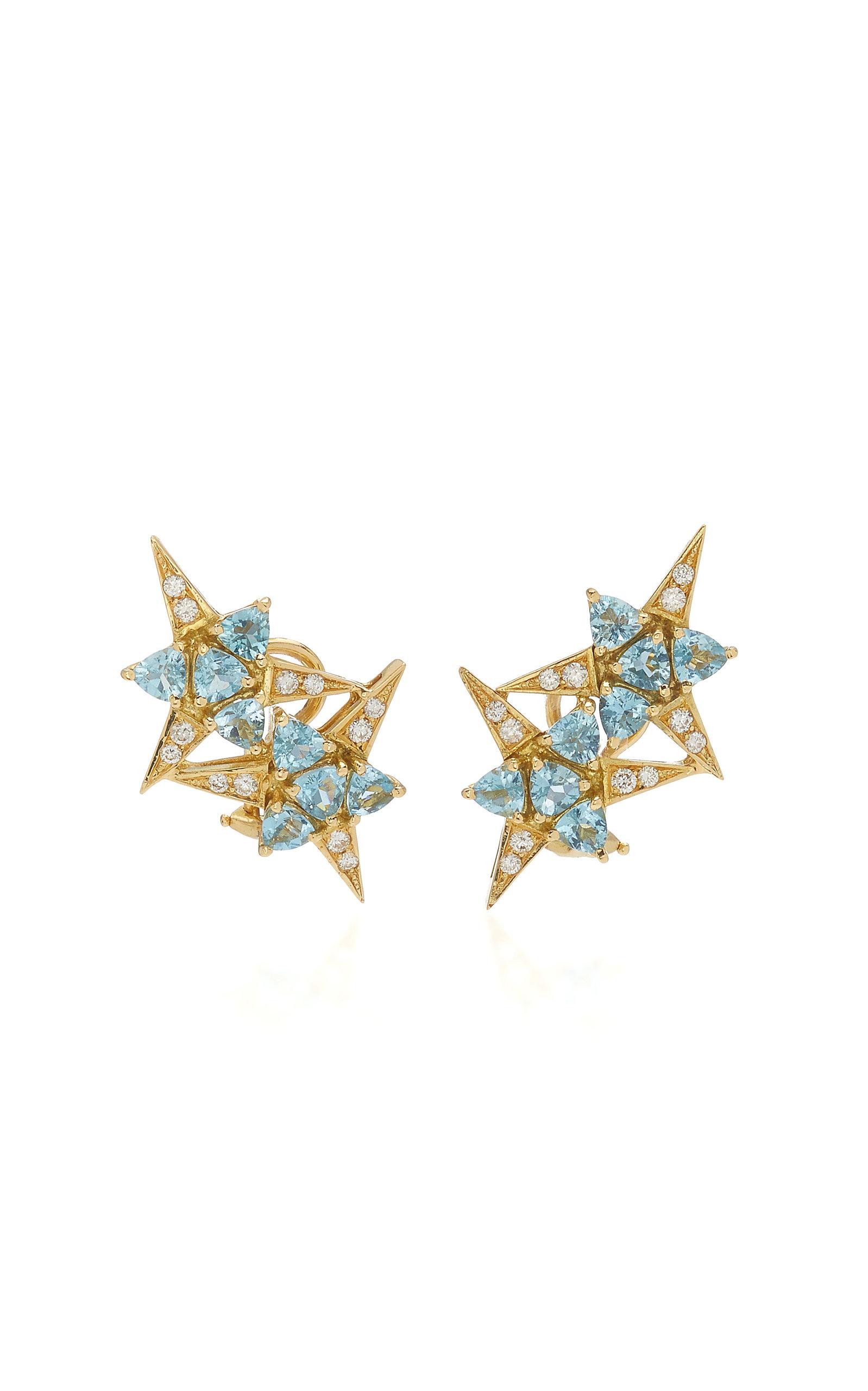 Women's Galactic Star 18K Yellow Gold Aquamarine; Diamond Earrings