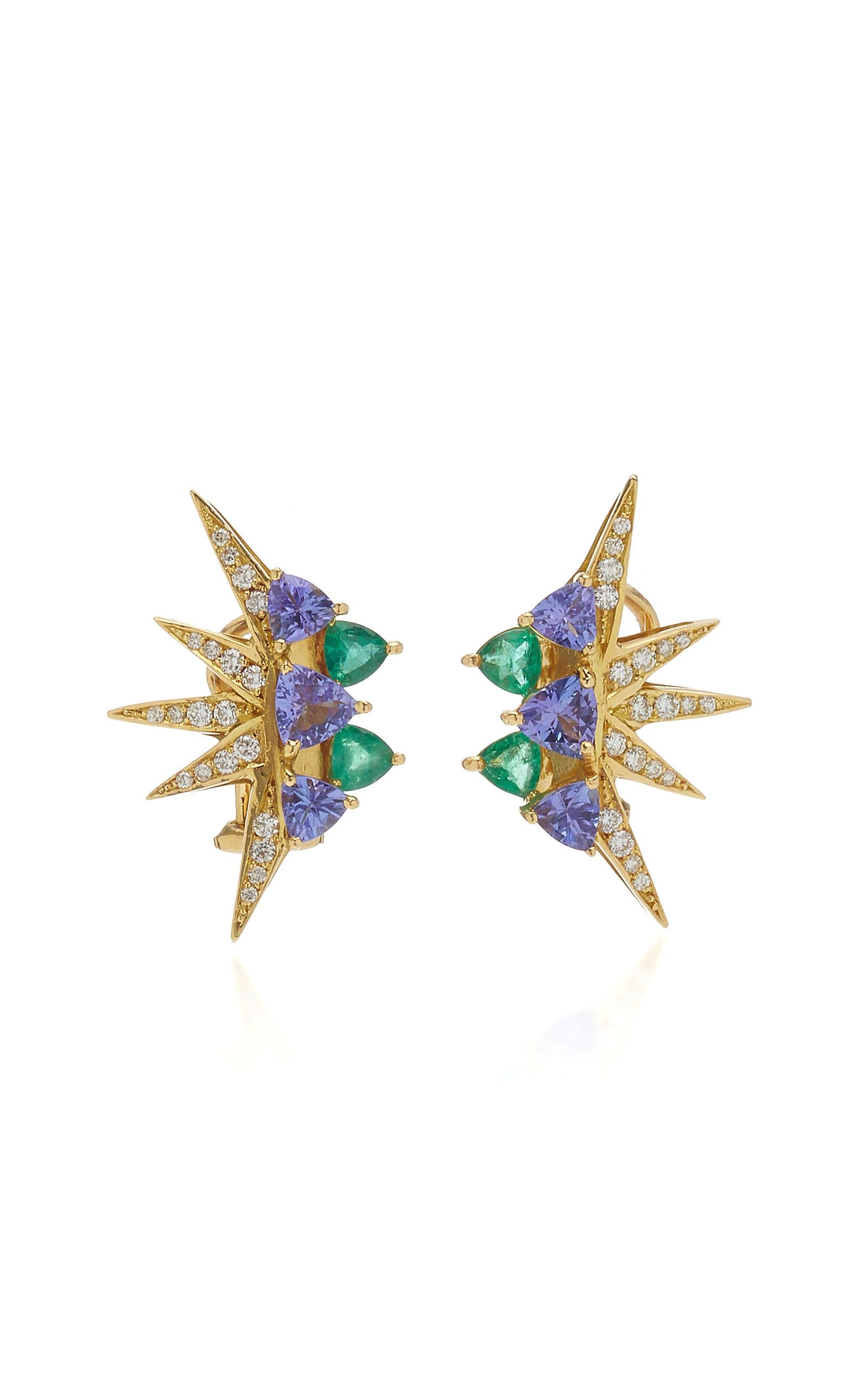 Women's Electra Mini 18K Yellow Gold Multi-Stone Earrings