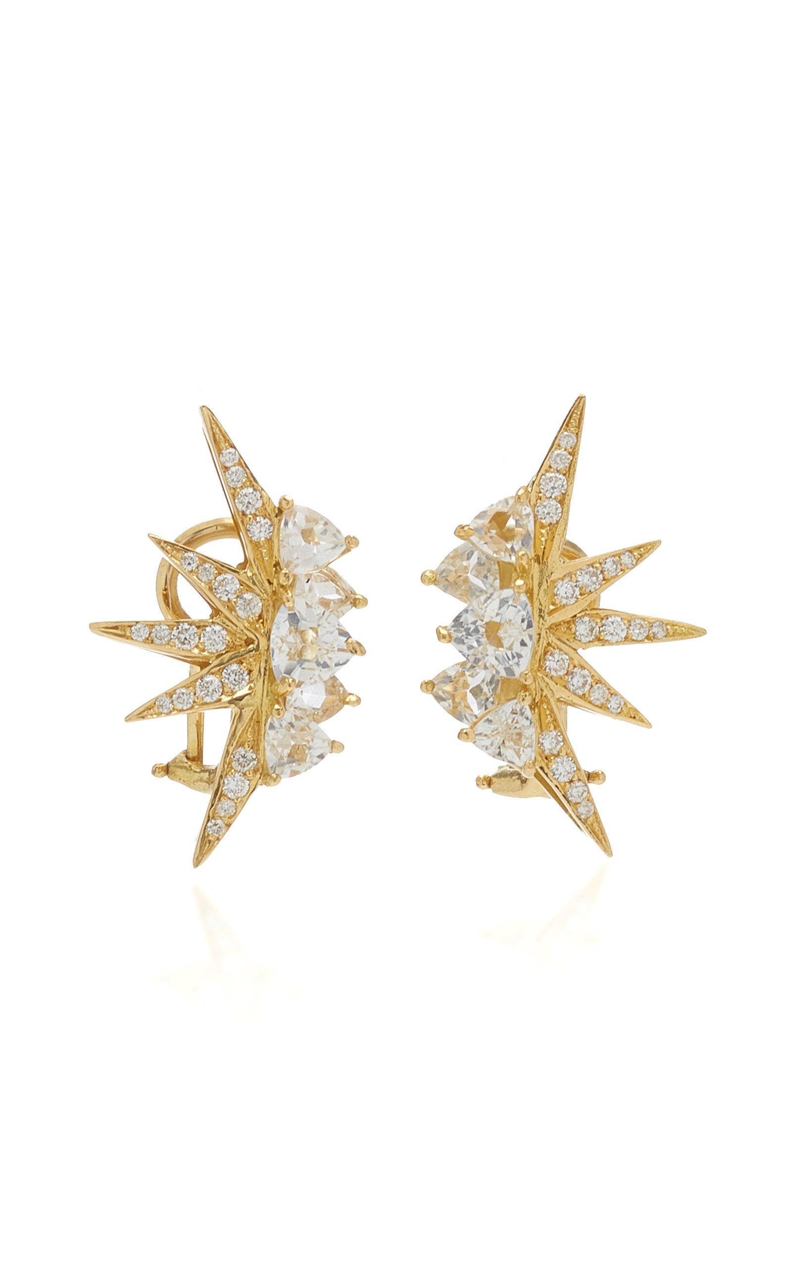 Women's Electra Mini 18K Yellow Gold Topaz; Diamond Earrings