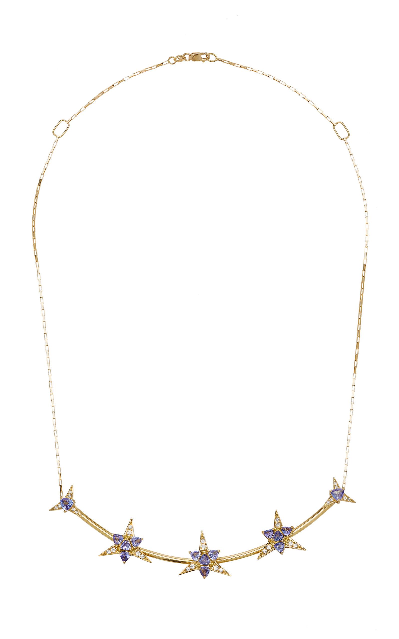 Women's Galactic Star 18K Yellow Gold Tanzanite; Diamond Necklace